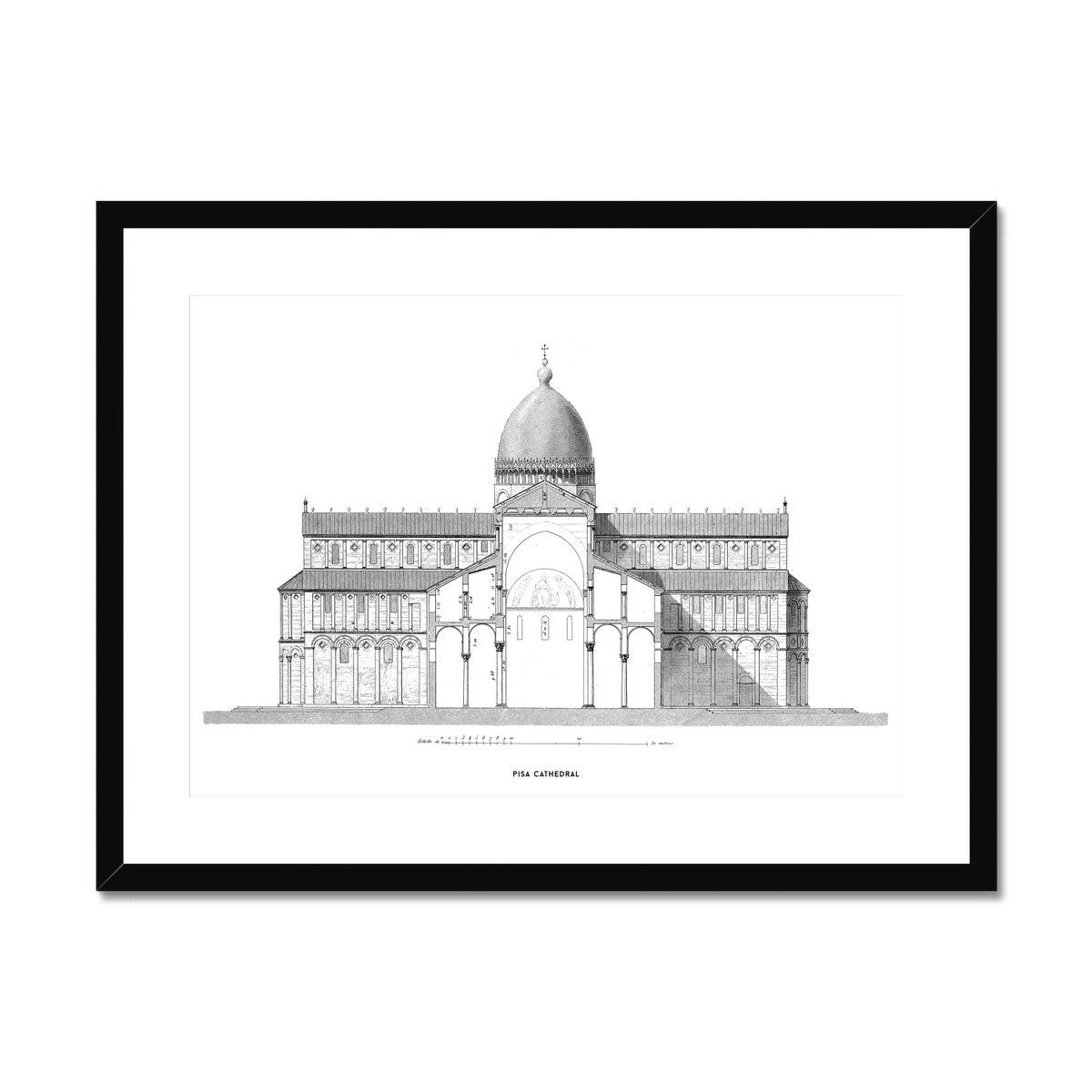 Pisa Cathedral - Cross Section - White -  Framed & Mounted Print