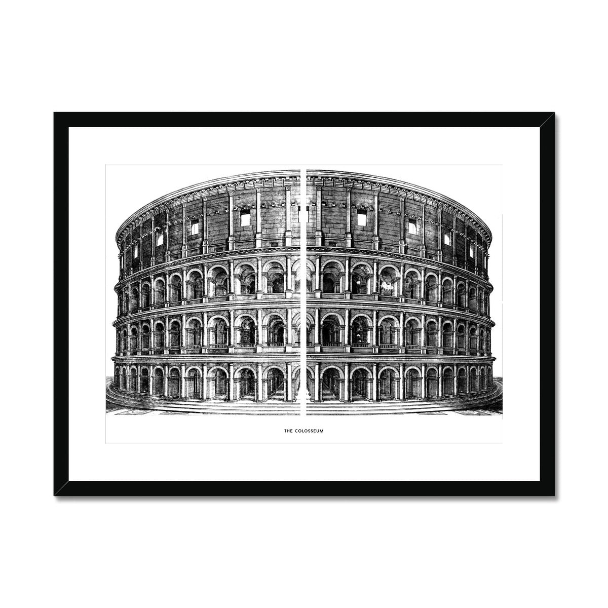 The Colosseum - Primary Elevation - White -  Framed & Mounted Print
