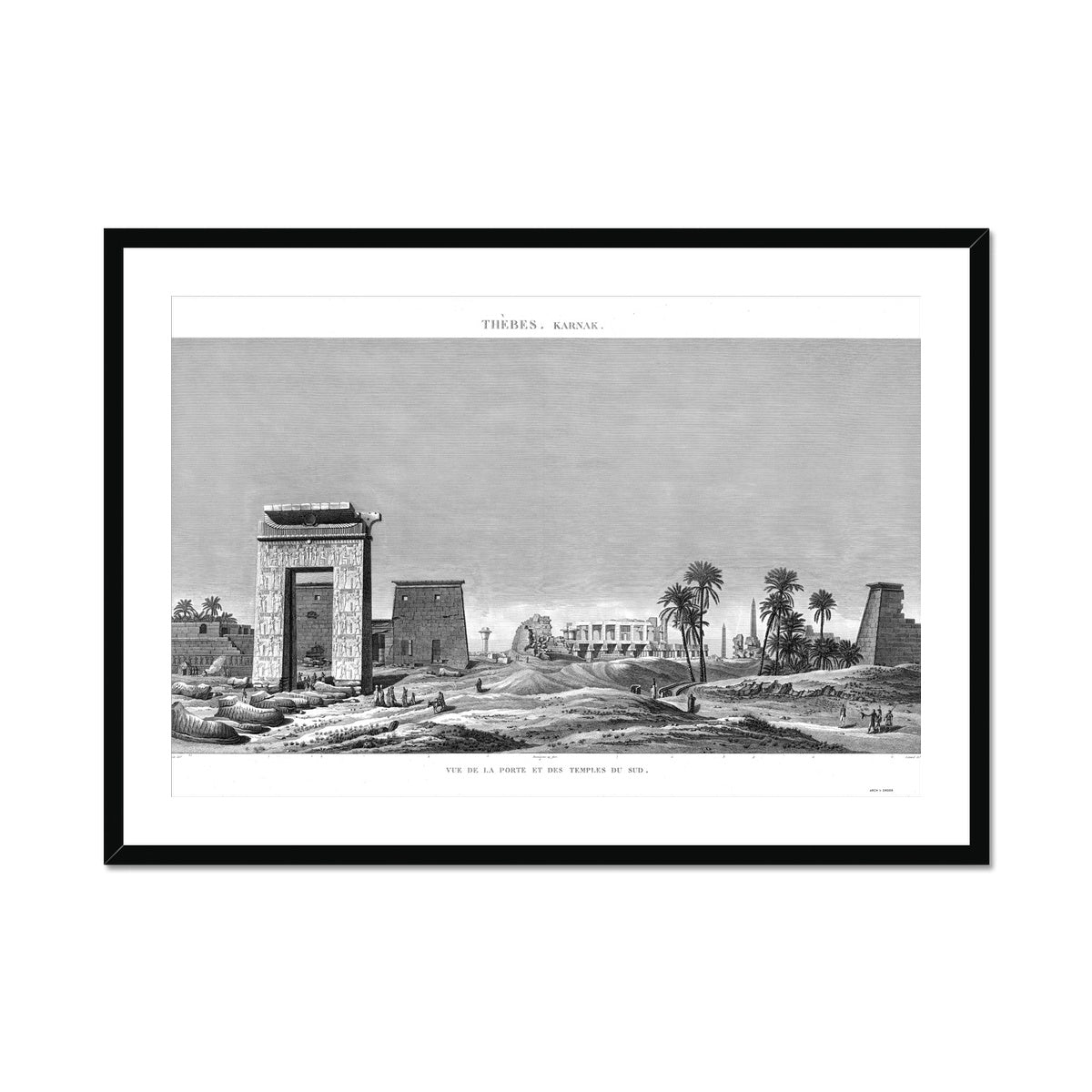View of the Southern Gates and Temples - Karnak - Thebes Egypt -  Framed & Mounted Print