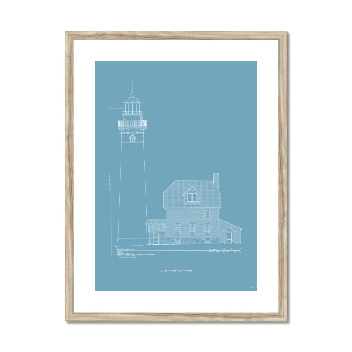 Outer Island Lighthouse - West Elevation - Blue -  Framed & Mounted Print