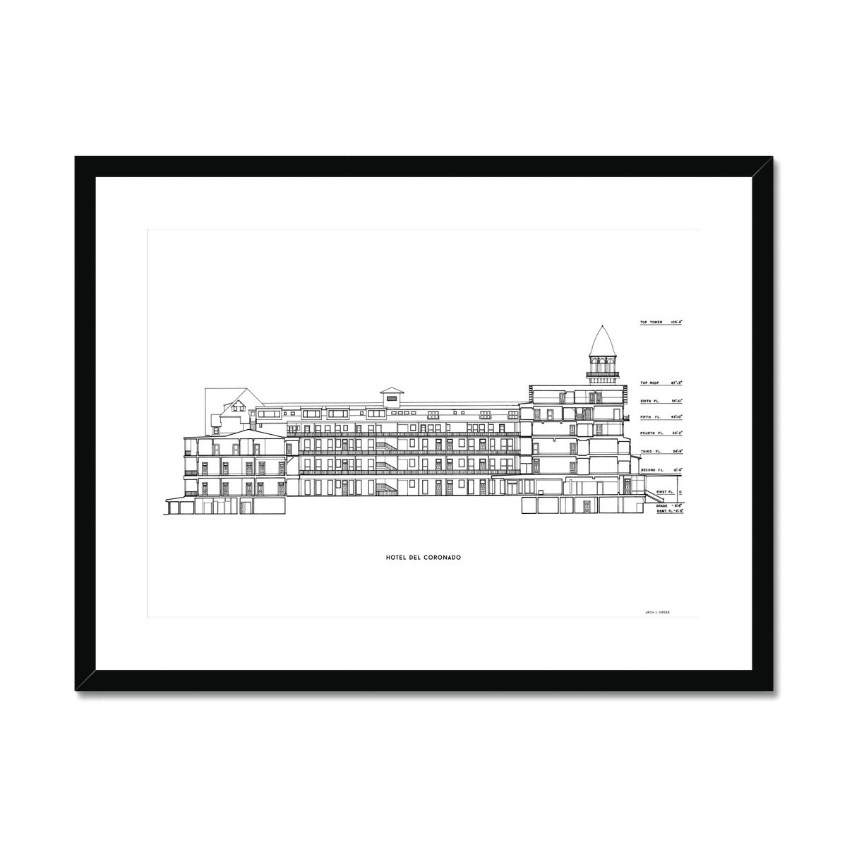 Hotel Del Coronado - Cross Section - White -  Framed & Mounted Print