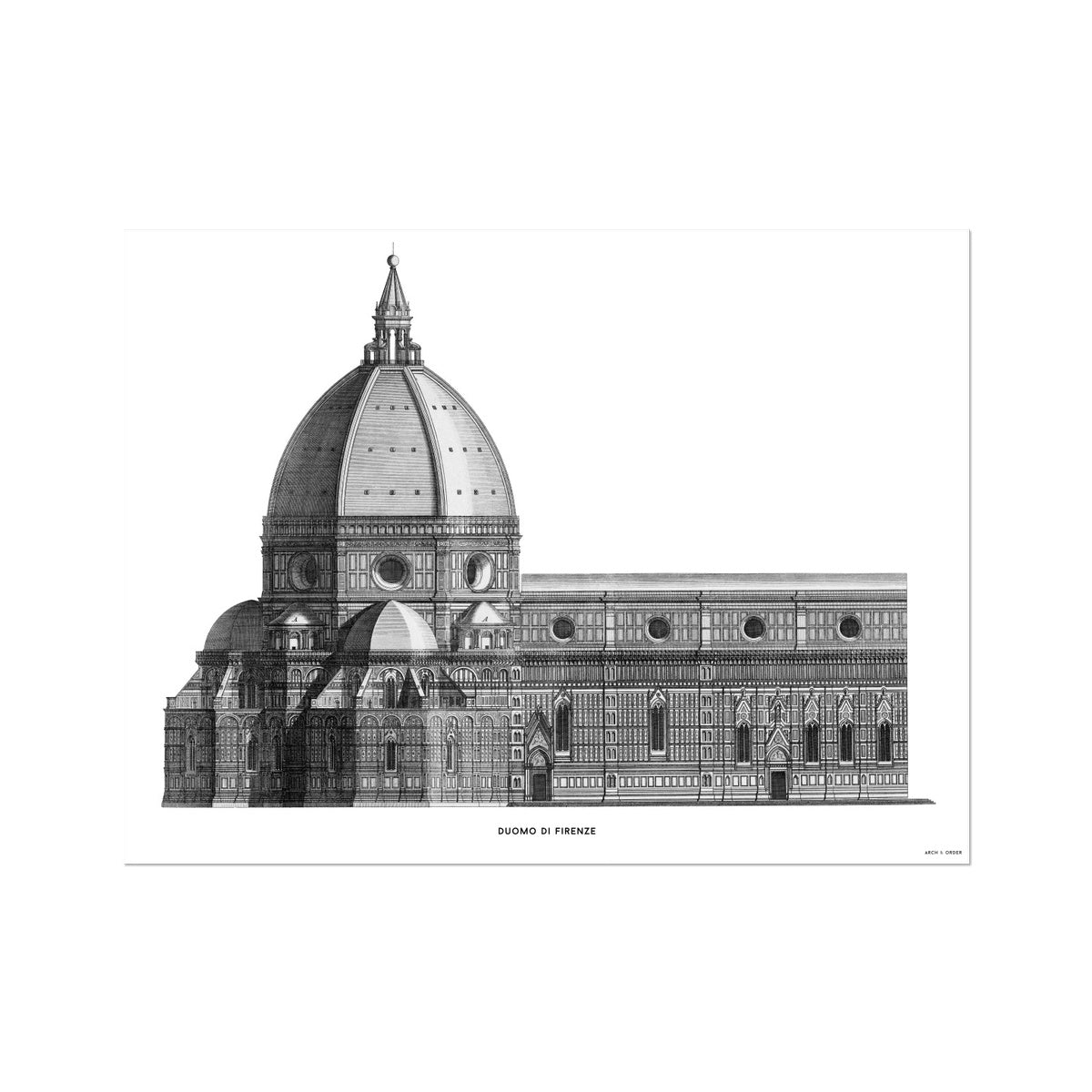 Duomo di Firenze - Transverse Elevation - White -  Etching Paper Print