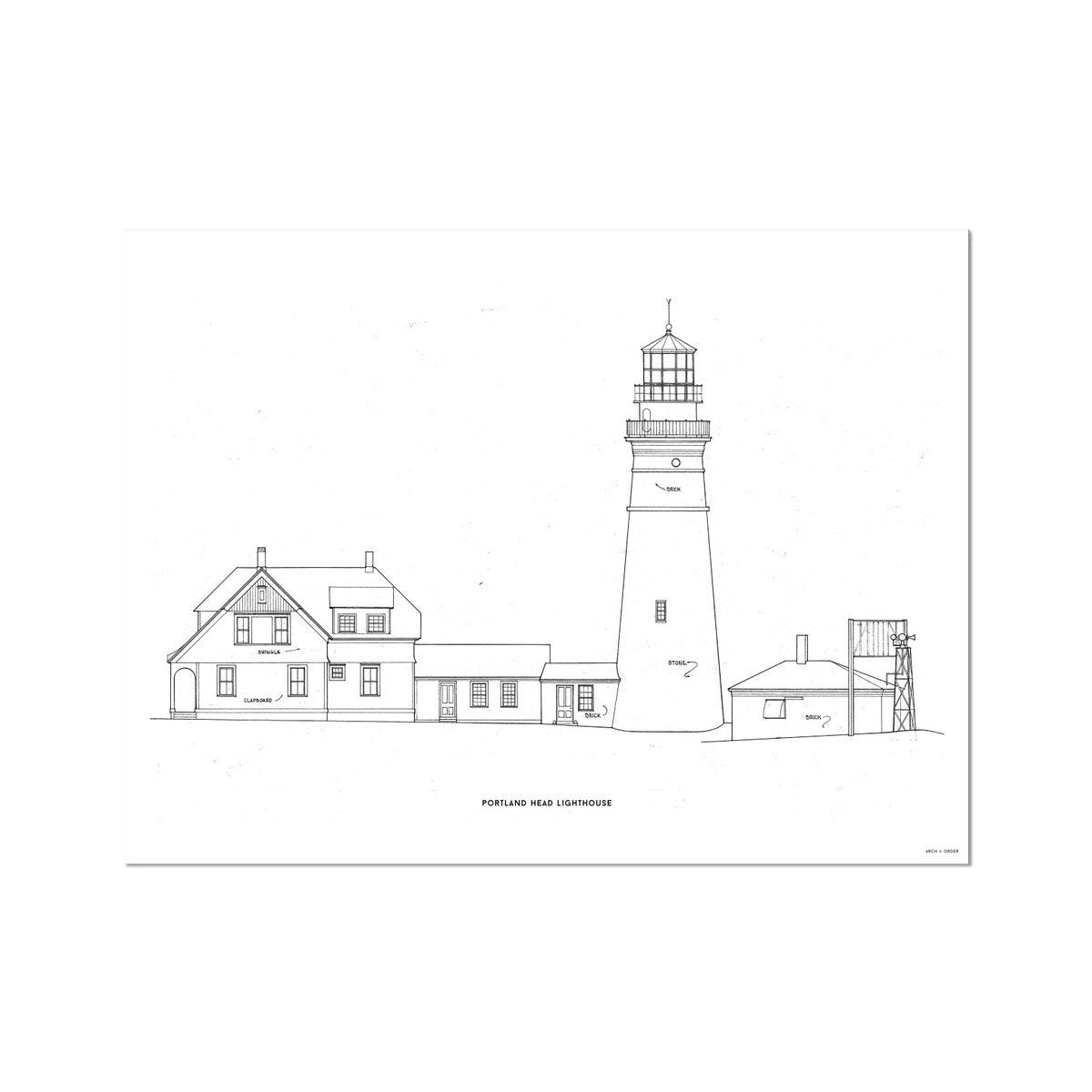 Portland Head Lighthouse - Southeast Elevation - White -  Etching Paper Print