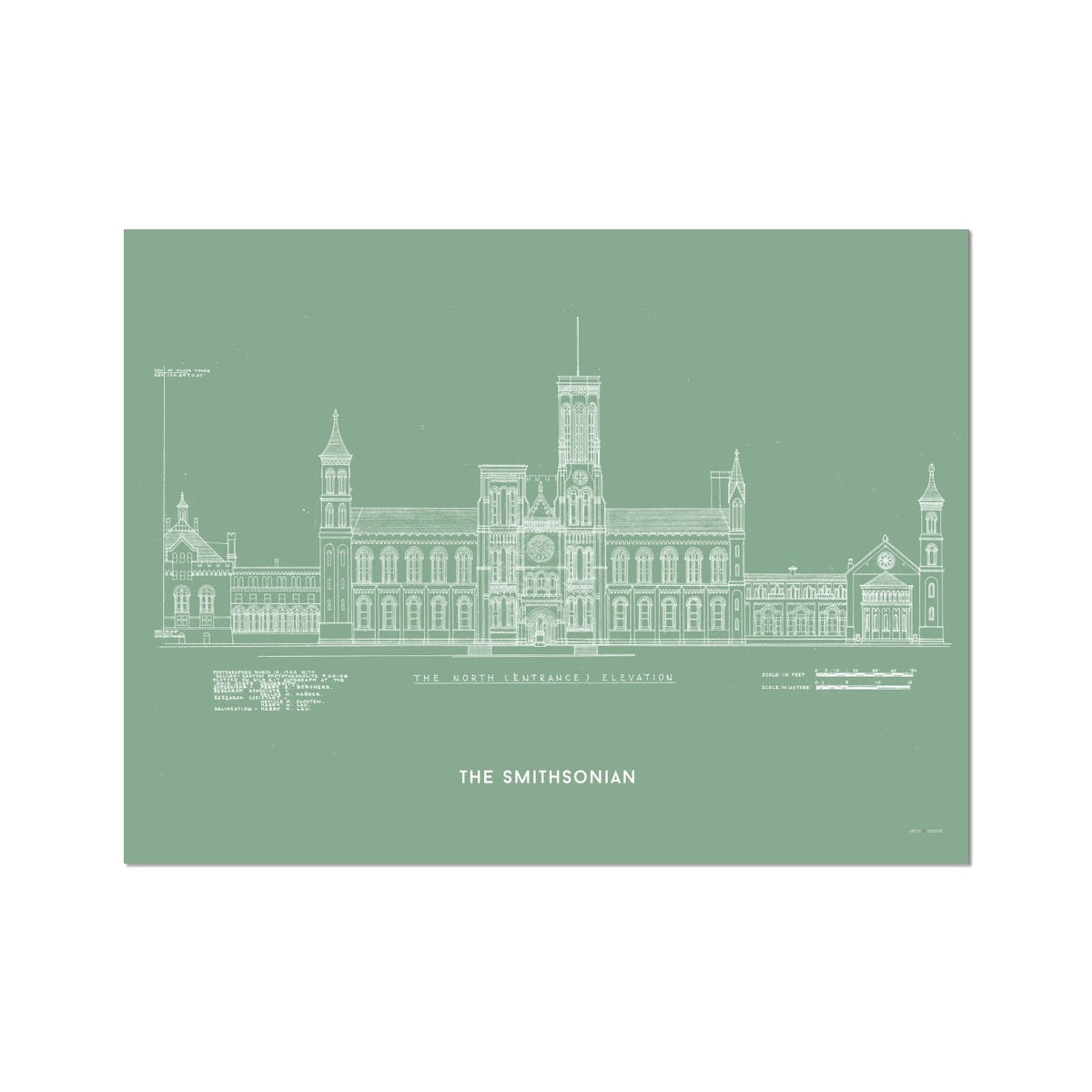 The Smithsonian North Elevation - Green -  Etching Paper Print