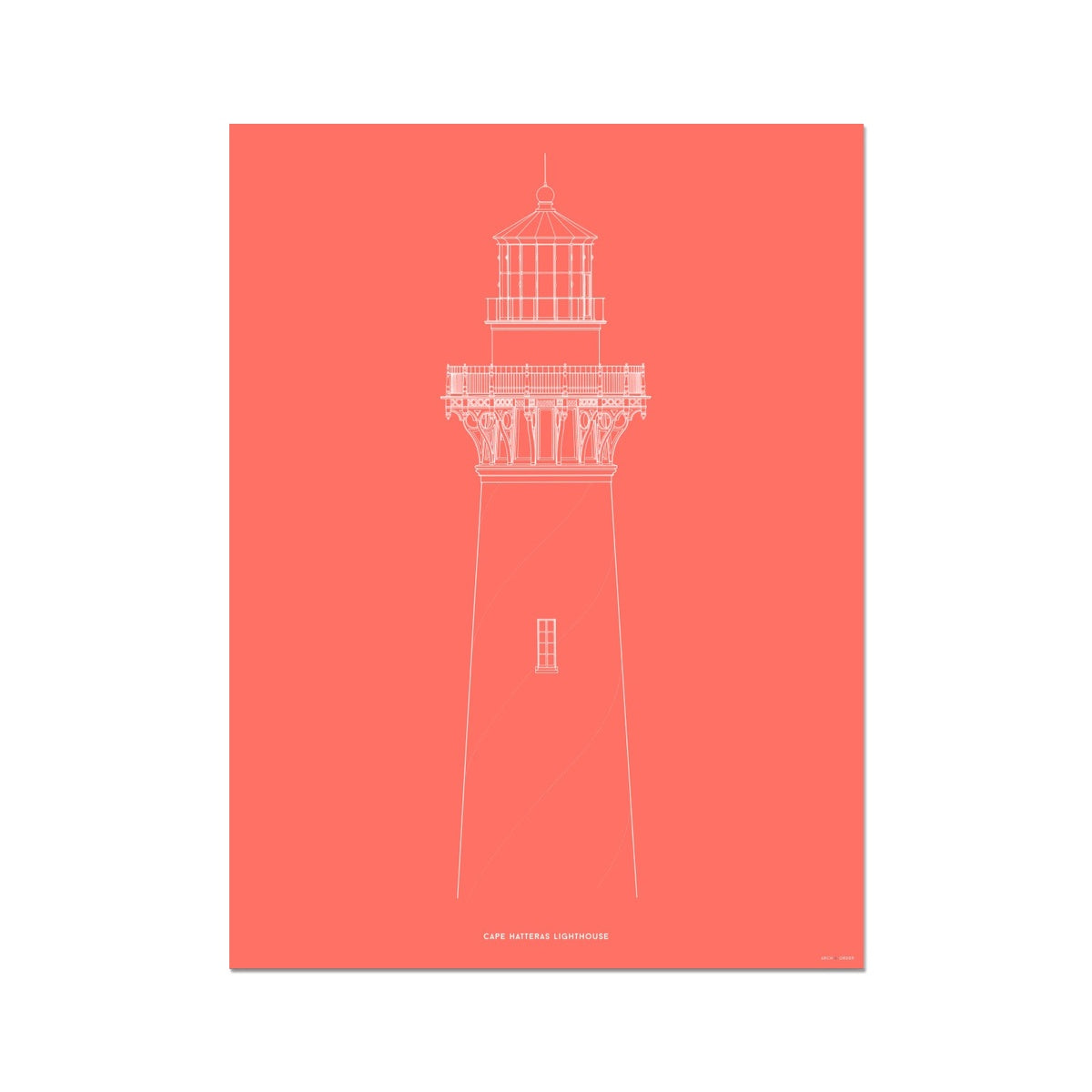 Cape Hatteras Lighthouse - North Elevation Detail - Red -  Etching Paper Print