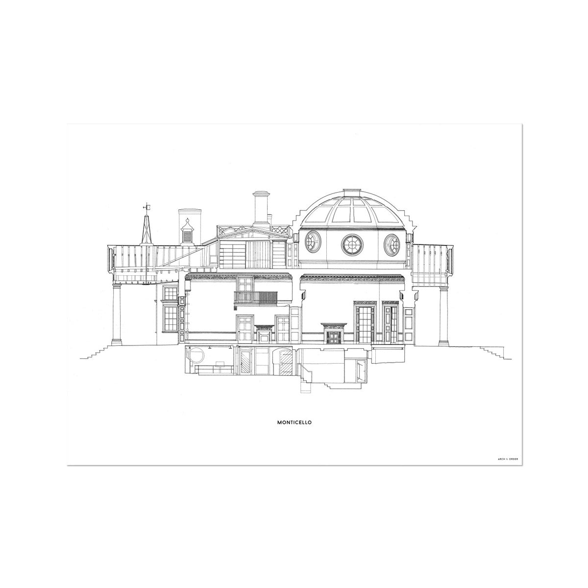 Monticello - North Elevation Cross Section - White -  Etching Paper Print