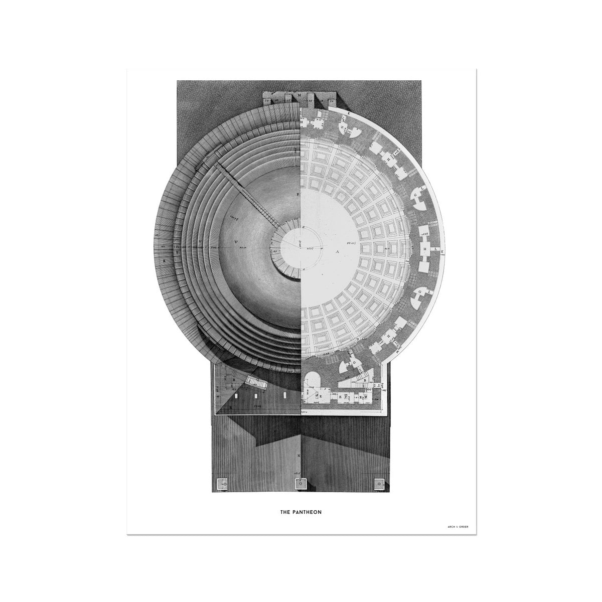 The Pantheon - Top Elevation -  Etching Paper Print