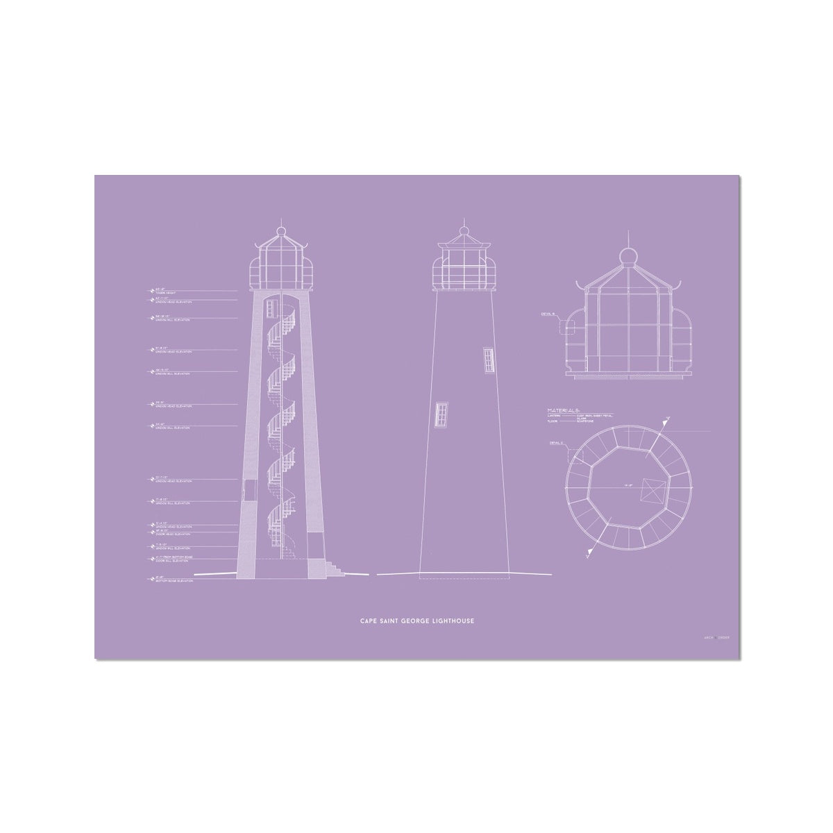 Fort Jefferson - Tortugas Harbor Lighthouse - Cross Section - Lavender - German Etching Print