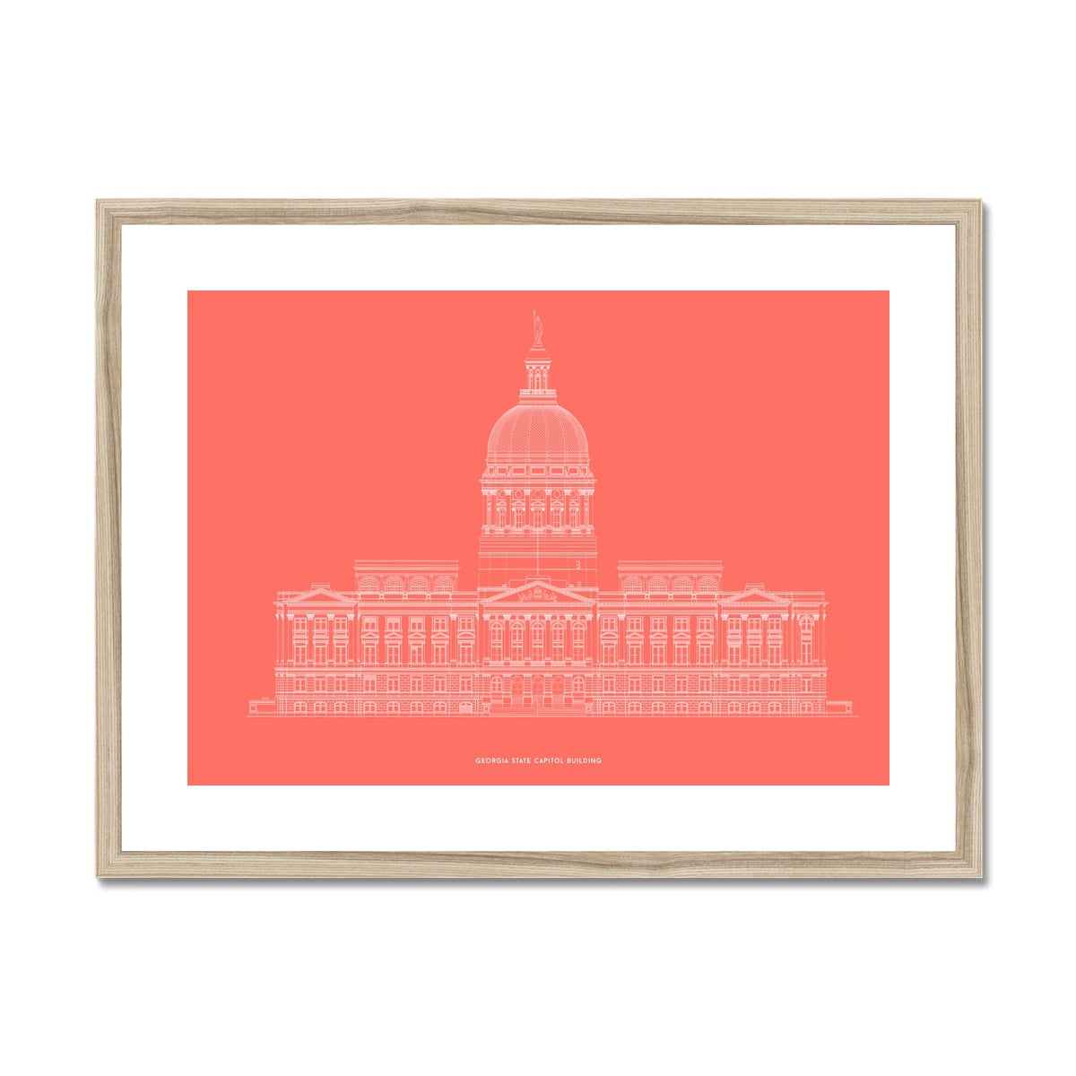 The Georgia State Capitol Building - West Elevation - Red -  Framed & Mounted Print