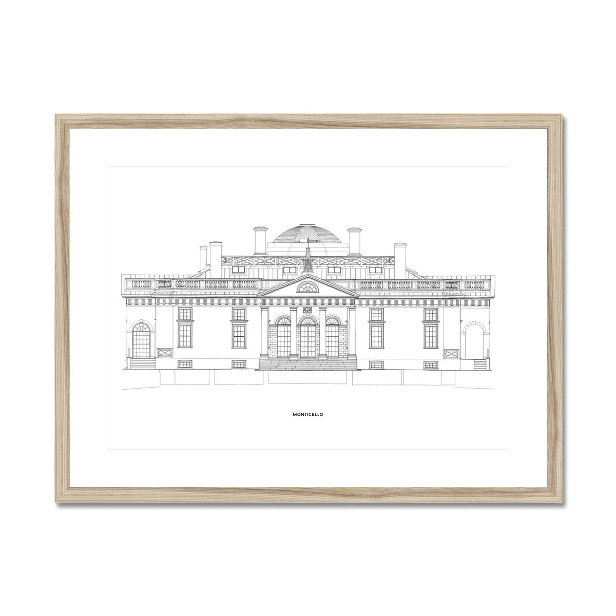 Monticello - East Elevation - White -  Framed & Mounted Print
