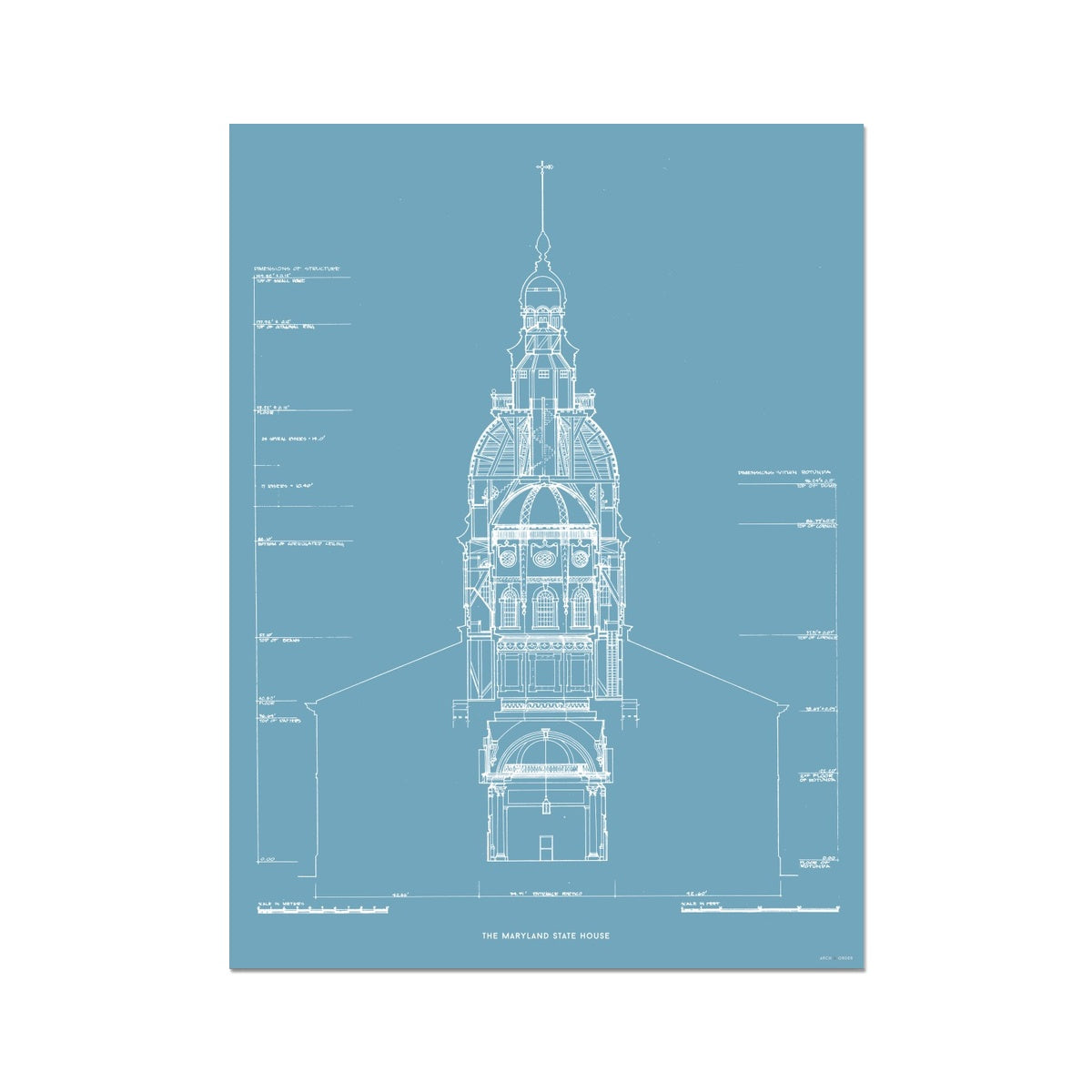 The Maryland State House - Northwest Elevation Cross Section - Blue - German Etching Print