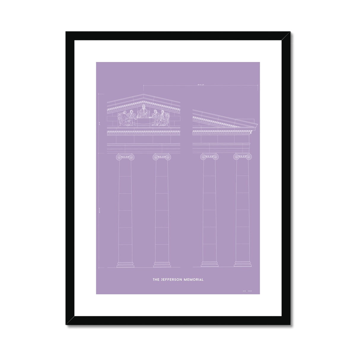 The Jefferson Memorial Portico Detail - Lavender -  Framed & Mounted Print