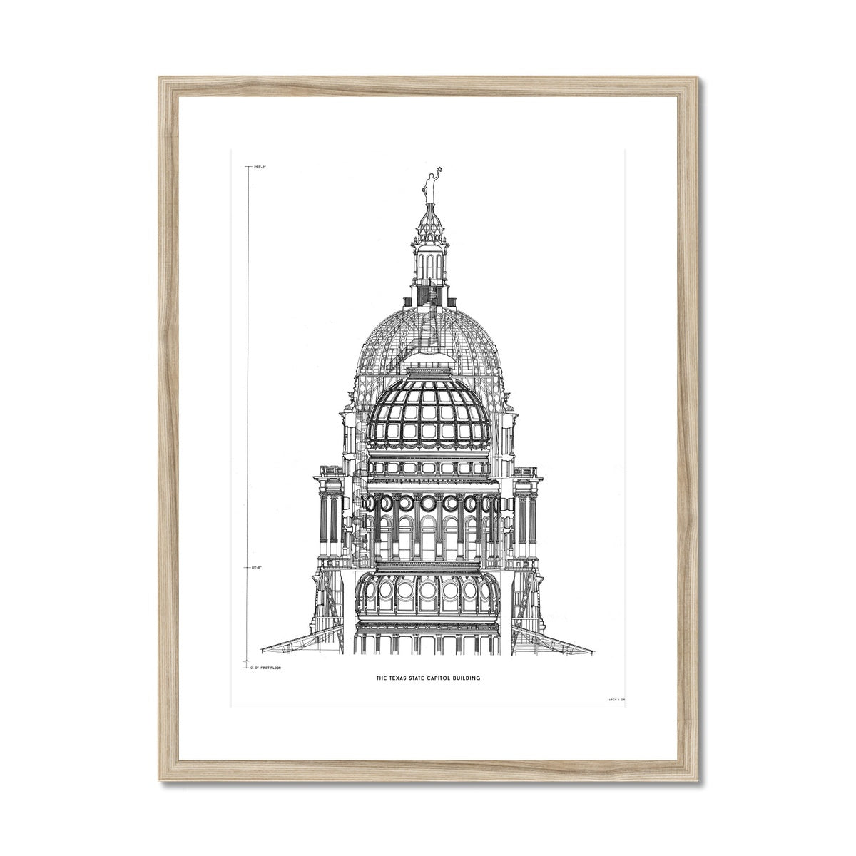 The Texas State Capitol Building - Dome Cross Section - White -  Framed & Mounted Print