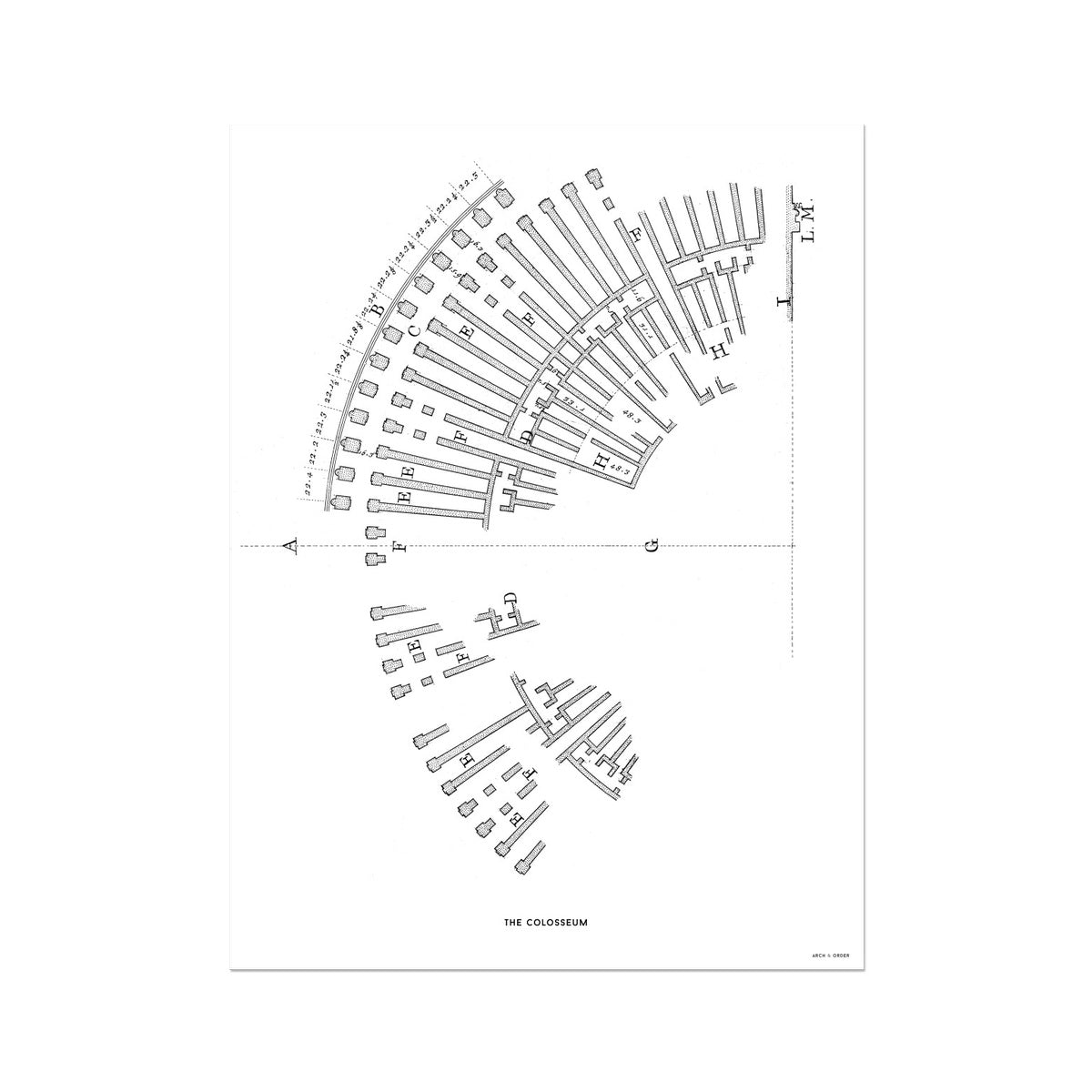 The Colosseum - Ruins Overview - White -  Etching Paper Print