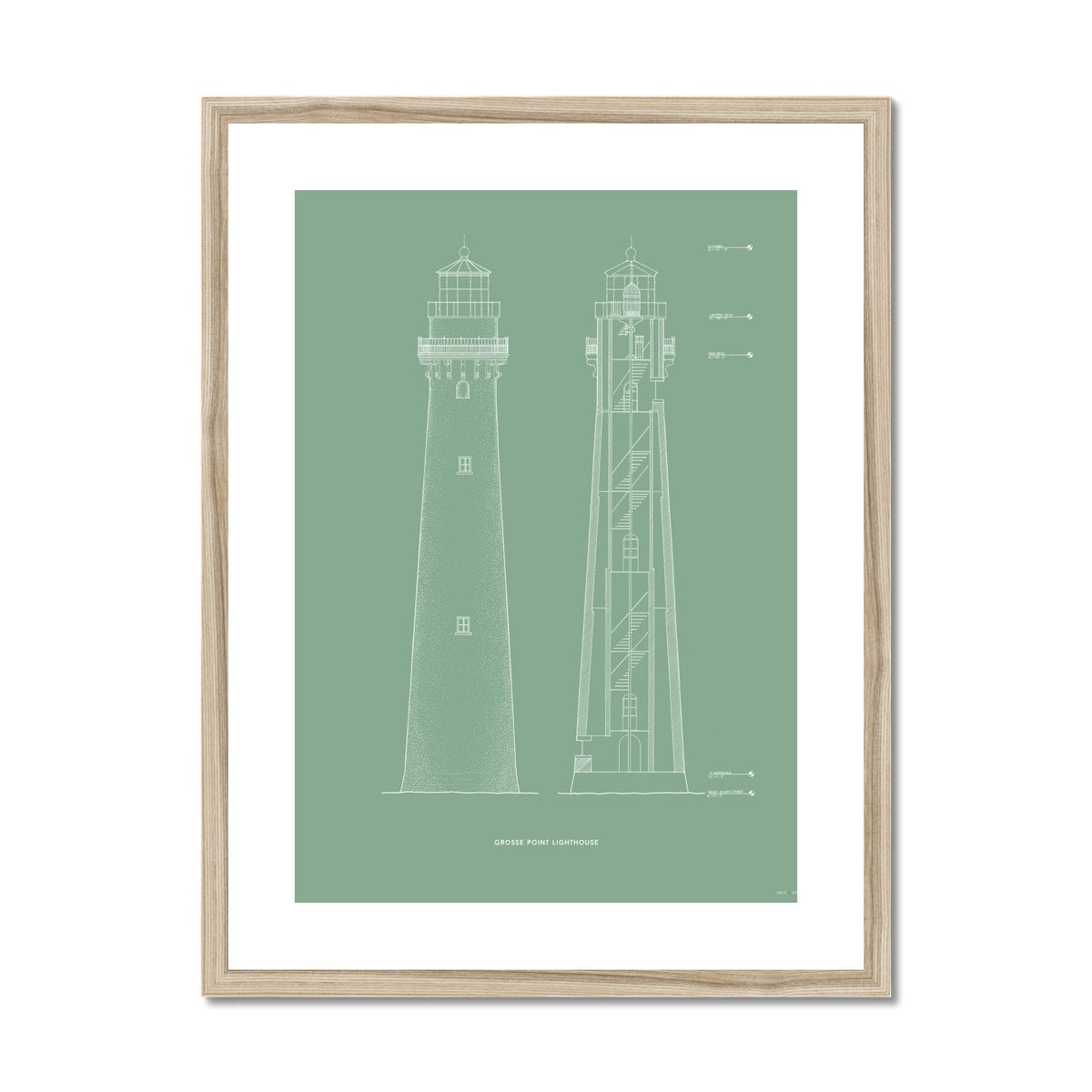 Grosse Point Lighthouse - East Elevation and Cross Section - Green -  Framed & Mounted Print