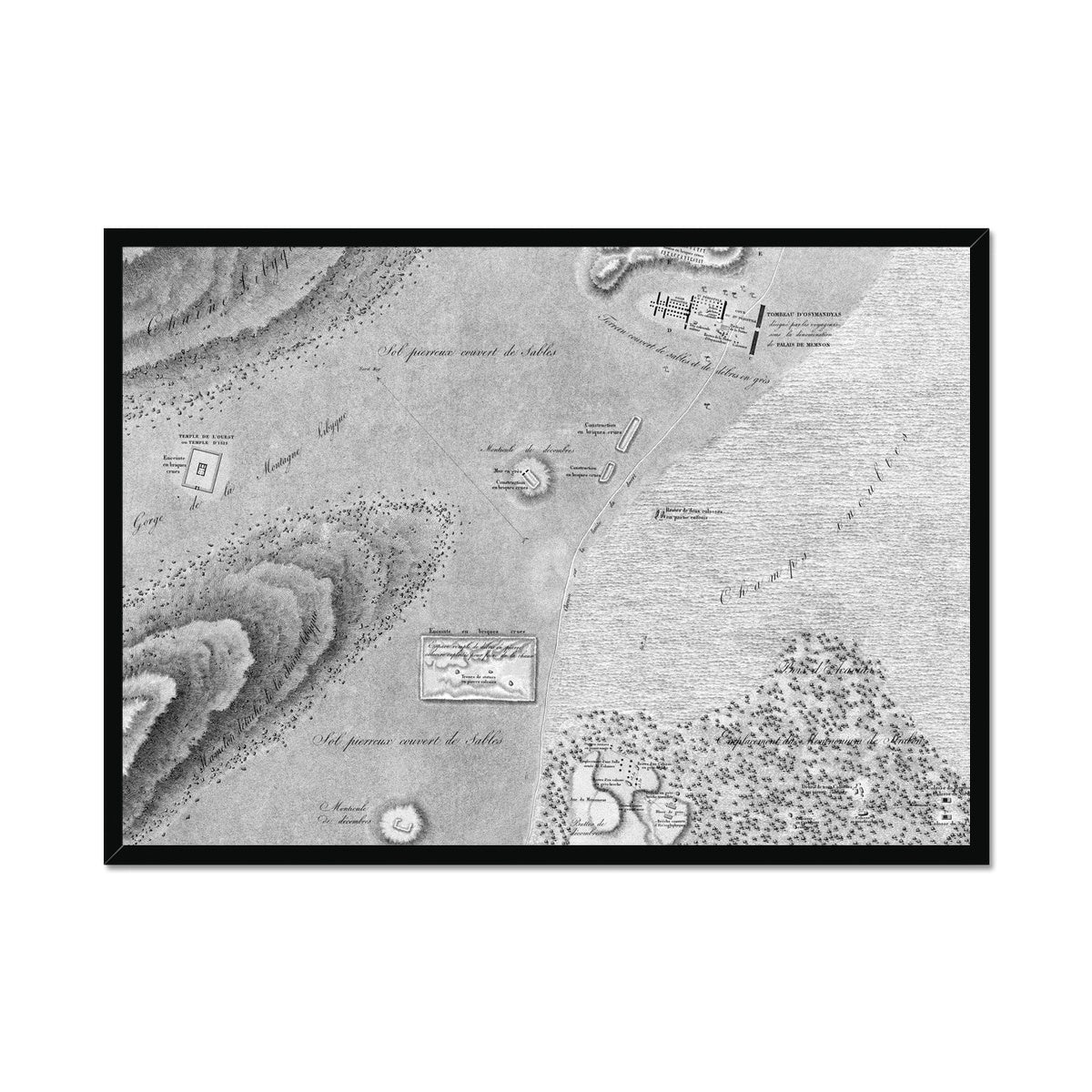 Topographic Map - Memnonium - Thebes Egypt -  Framed Print