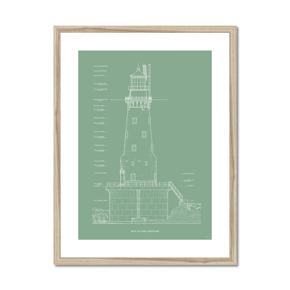 Rock of Ages Lighthouse - Southeast Elevation - Green -  Framed & Mounted Print