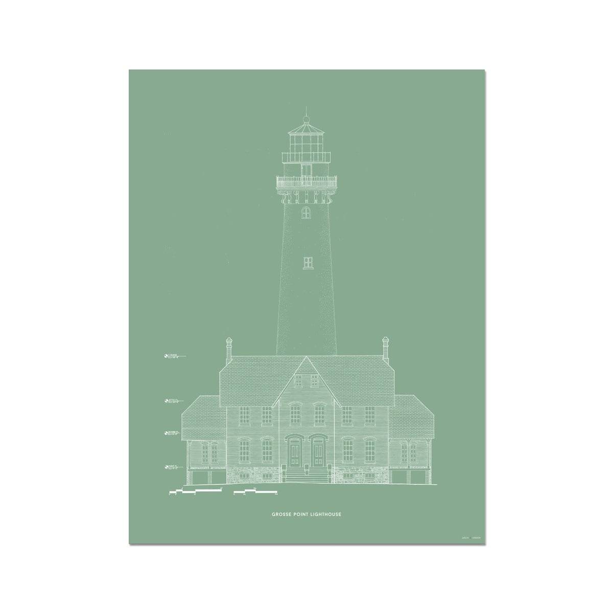 Grosse Point Lighthouse - West Elevation - Green -  Etching Paper Print