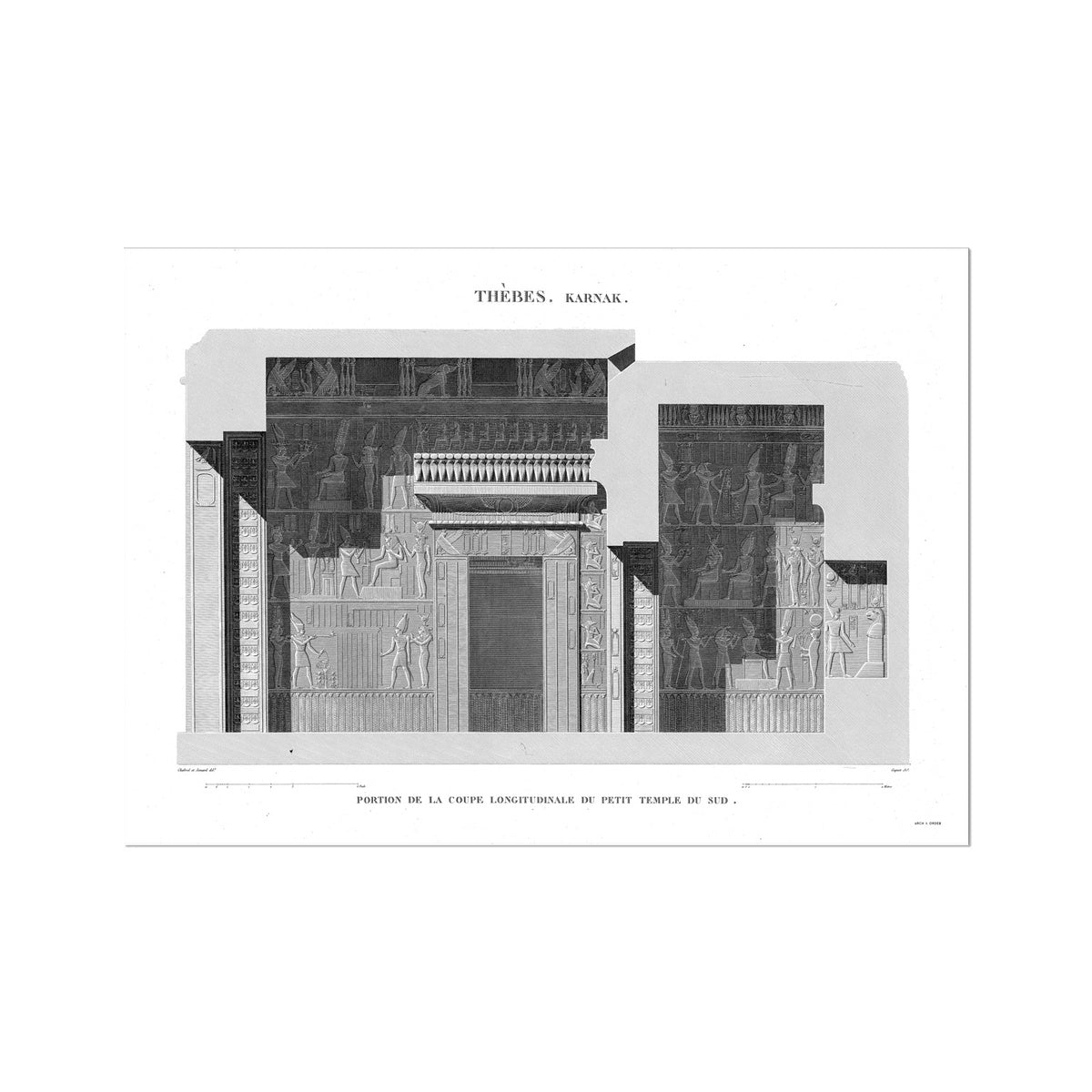 Sections of the Small Southern Temple 2 - Karnak - Thebes Egypt -  Etching Paper Print