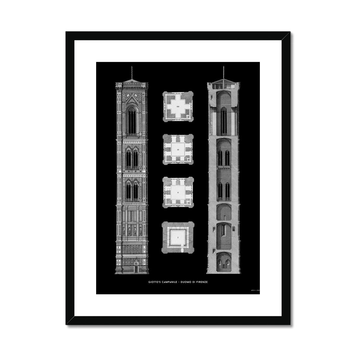 Giotto's Campanile - Cross Section - Black -  Framed & Mounted Print