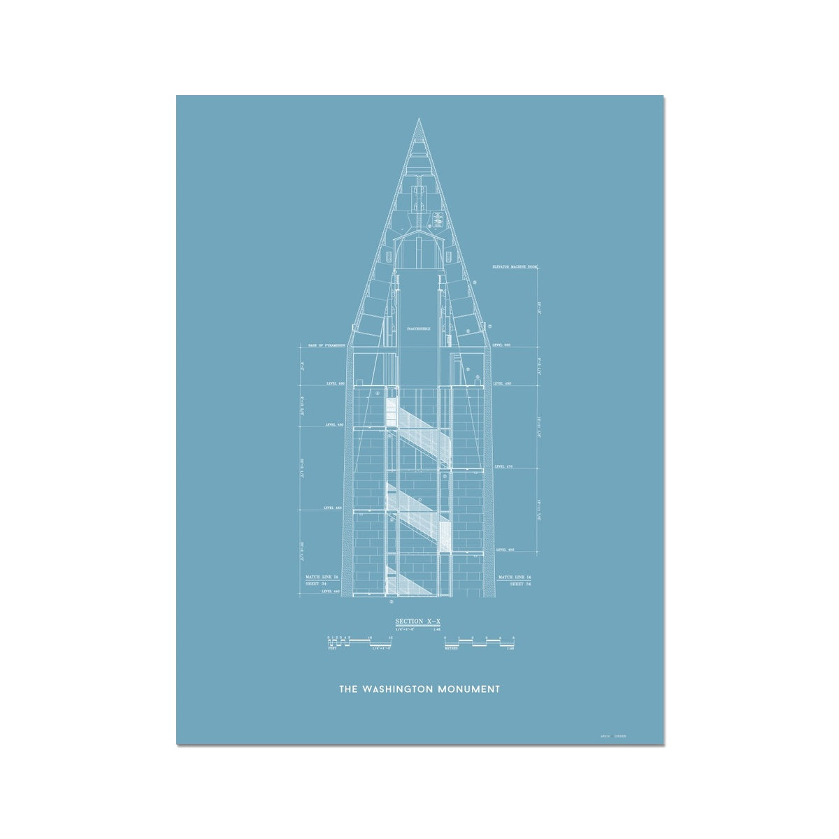 The Washington Monument Top Cross Section - Blue -  Etching Paper Print
