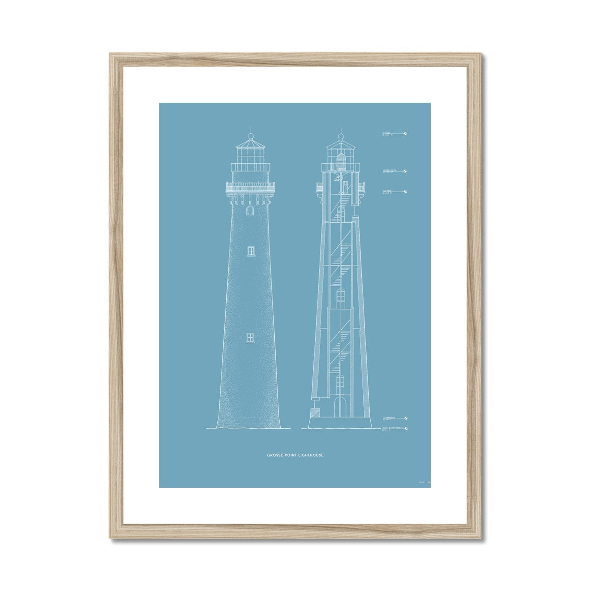 Grosse Point Lighthouse - East Elevation and Cross Section - Blue -  Framed & Mounted Print