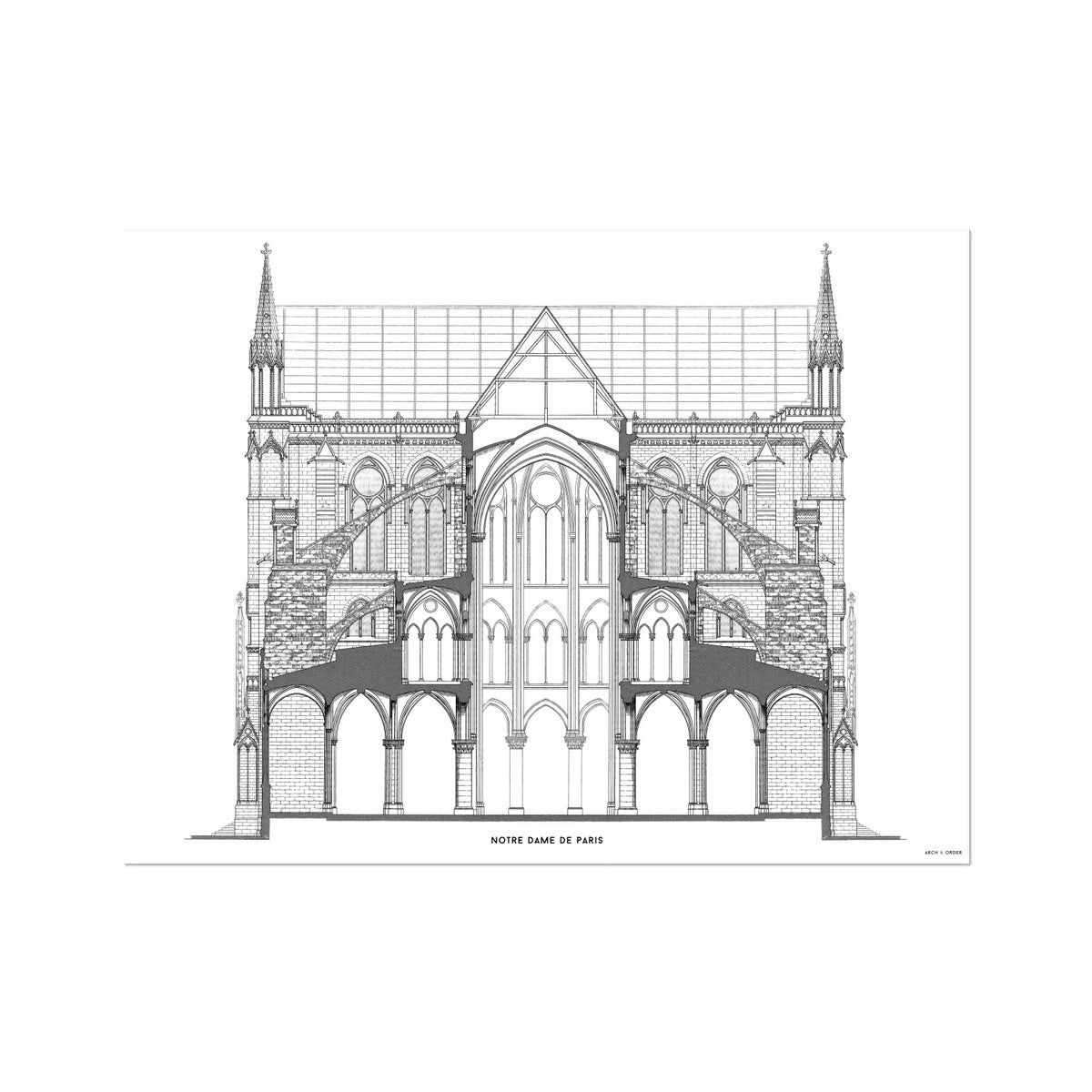 Notre Dame de Paris - Full Cross Section - White -  Etching Paper Print