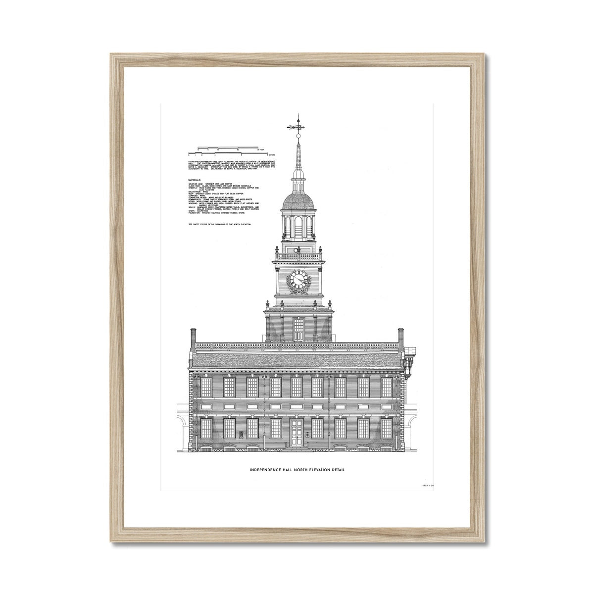 Independence Hall - North Elevation Detail - White -  Framed & Mounted Print