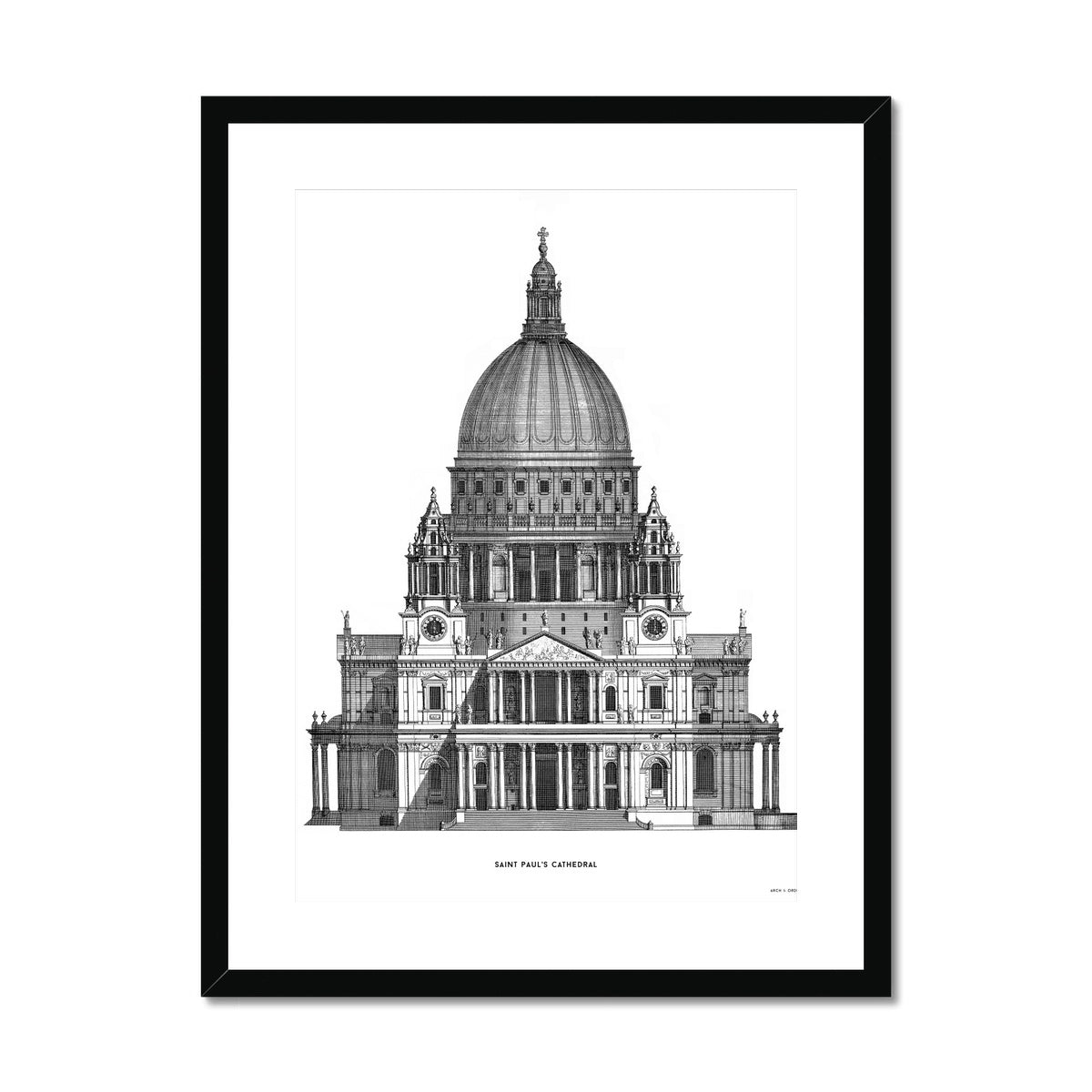 Saint Paul's Cathedral - Primary Elevation - White -  Framed & Mounted Print
