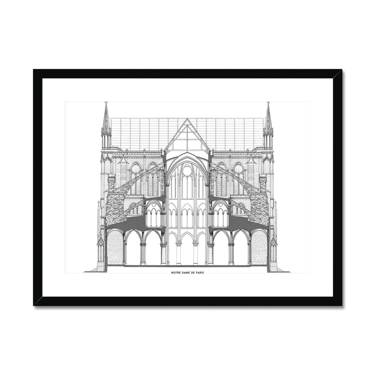 Notre Dame de Paris - Full Cross Section - White -  Framed & Mounted Print
