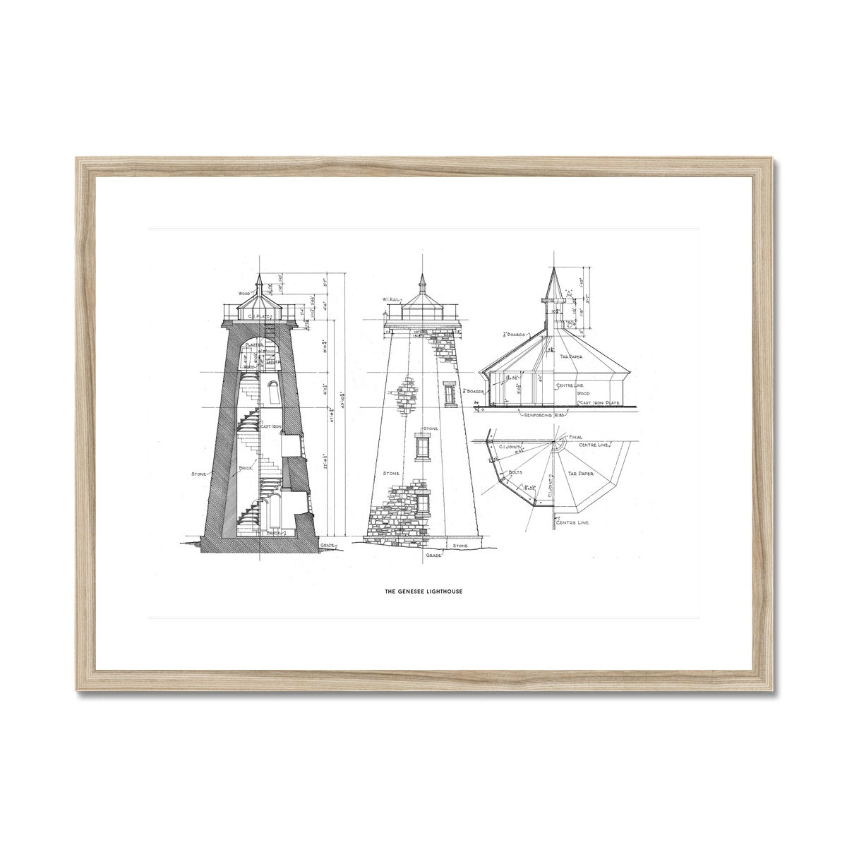 The Genesee Lighthouse - South Elevation and Cross Section - White -  Framed & Mounted Print