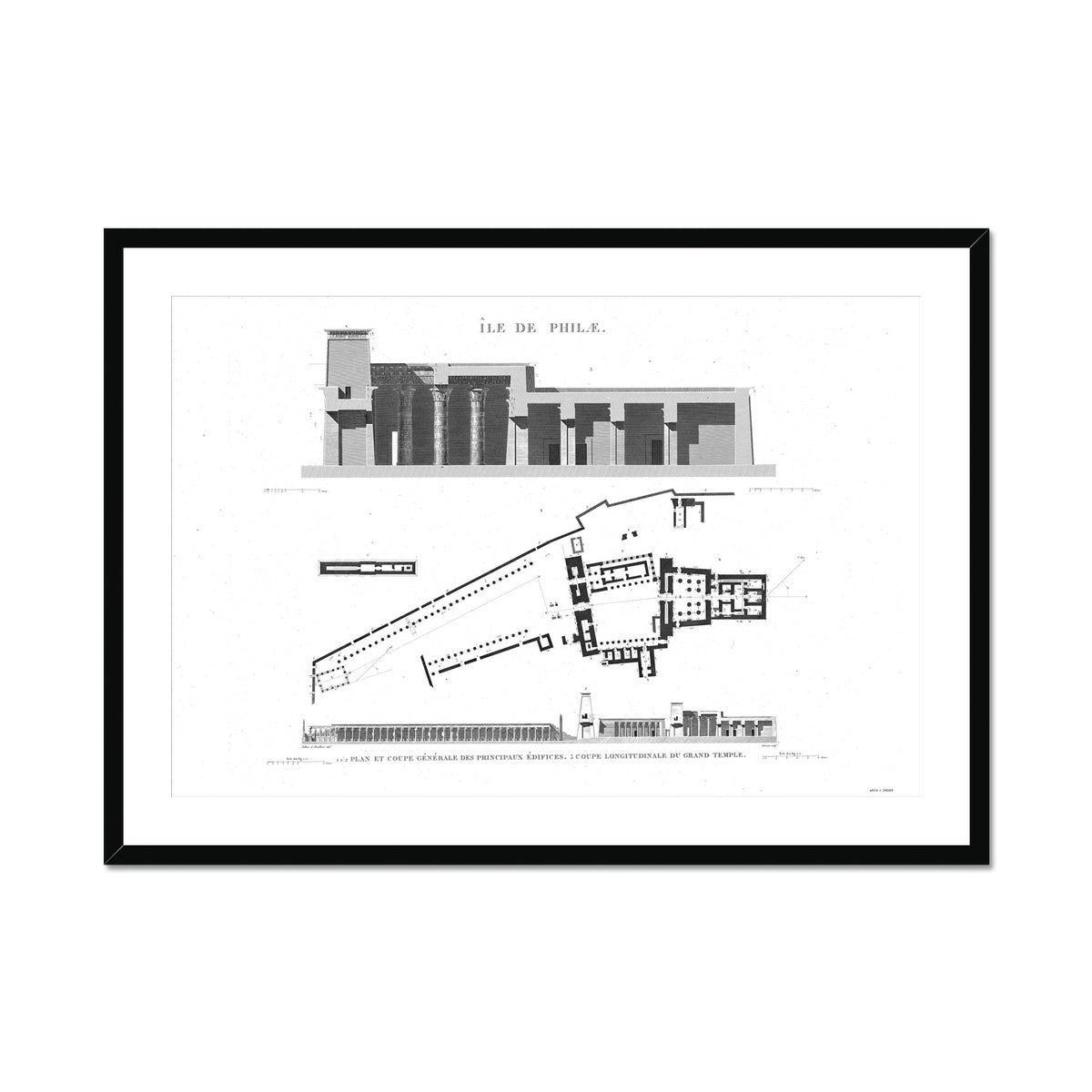The Temple of Isis Plan and Cross Section - Philae Egypt -  Framed & Mounted Print