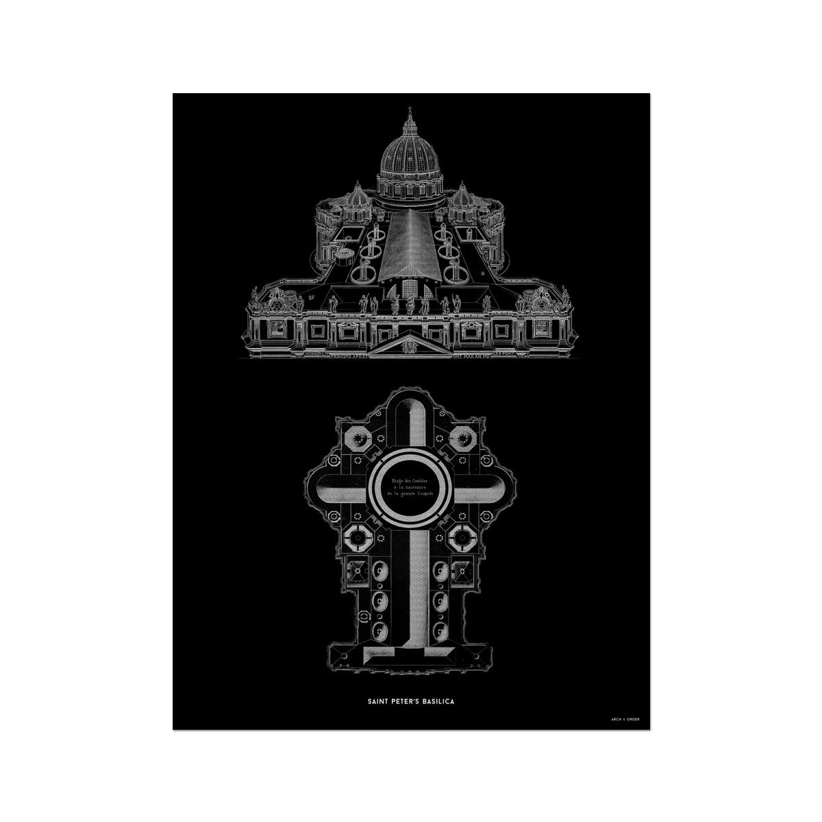 Saint Peter's Basilica - Elevated View - Black -  Etching Paper Print