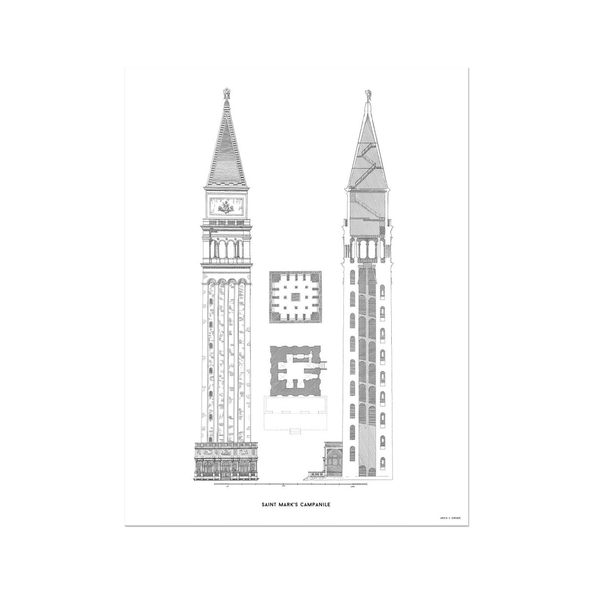 Saint Mark's Campanile - Primary Elevation - White -  Etching Paper Print