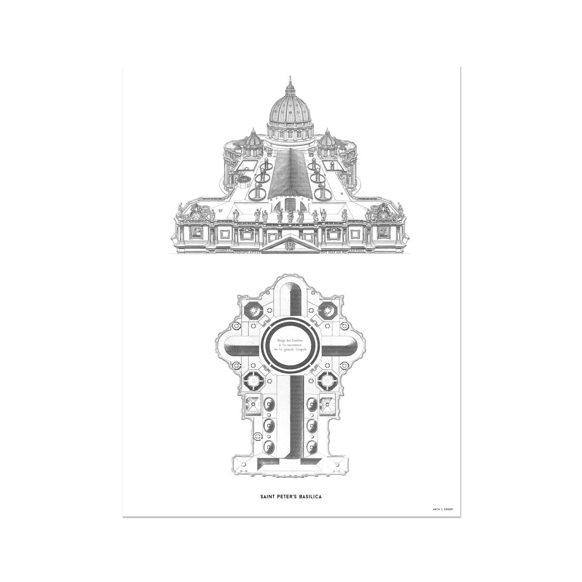 Saint Peter's Basilica - Elevated View - White -  Etching Paper Print