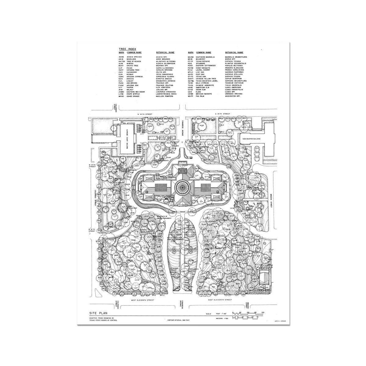 The Texas State Capitol Building - Site and Landscaping Plan - White - German Etching Print