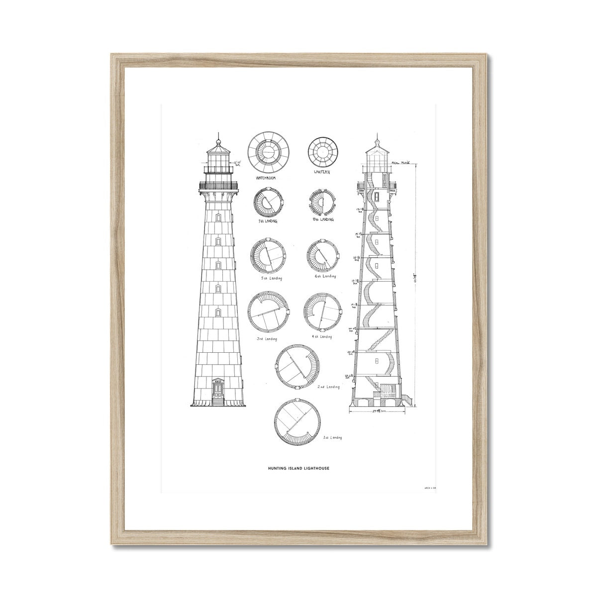 Hunting Island Second Order Lighthouse - White -  Framed & Mounted Print