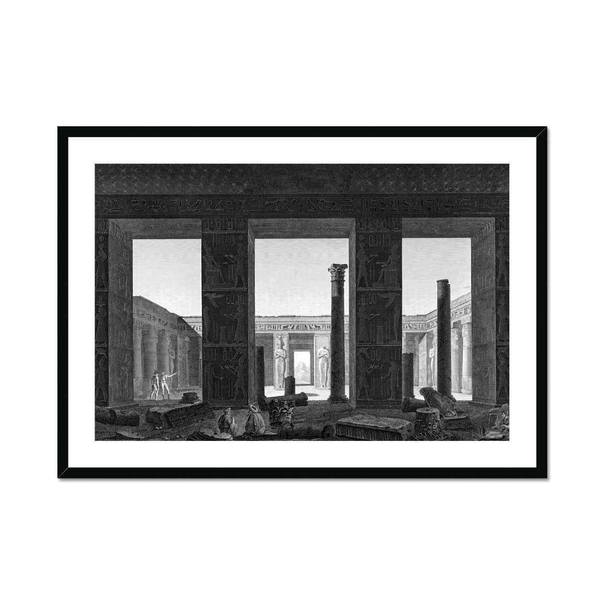 Interior View of the Palace Peristyle - Medynet-Abou - Thebes Egypt -  Framed & Mounted Print