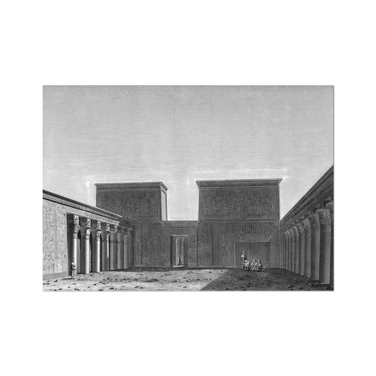 The Temple of Isis View of Second Pylon - Philae Egypt -  Etching Paper Print