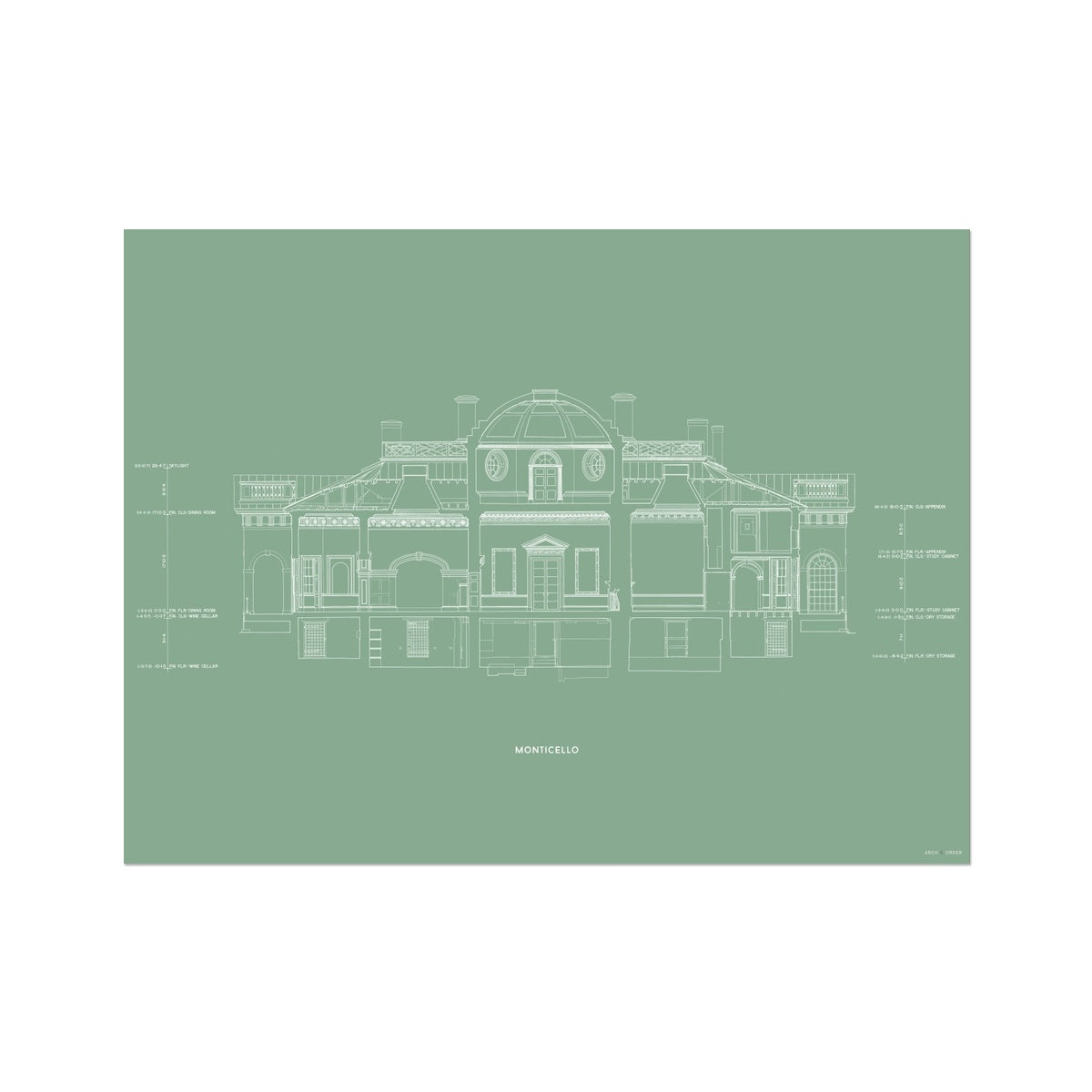 Monticello - West Elevation Cross Section - Green -  Etching Paper Print