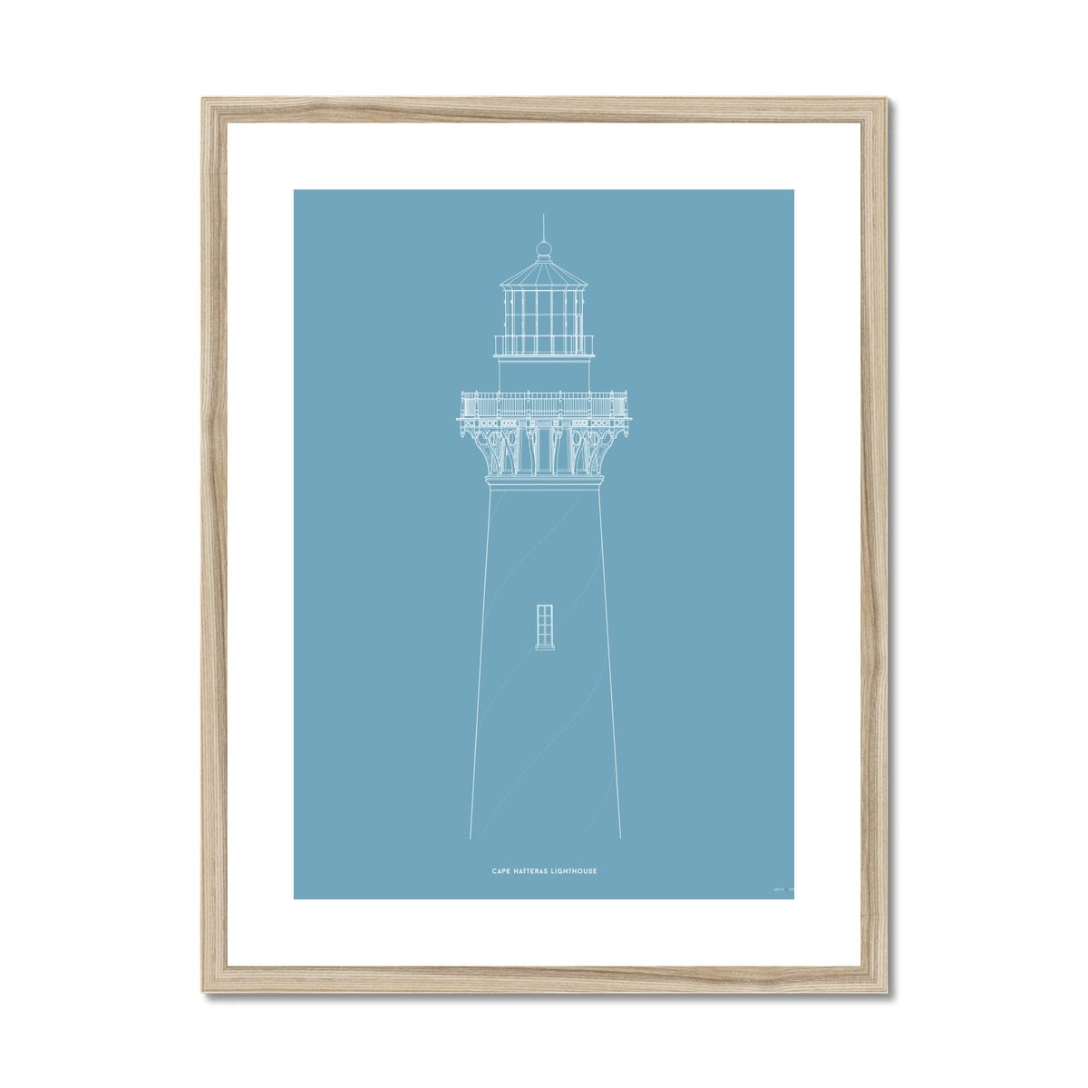 Cape Hatteras Lighthouse - North Elevation Detail - Blue -  Framed & Mounted Print