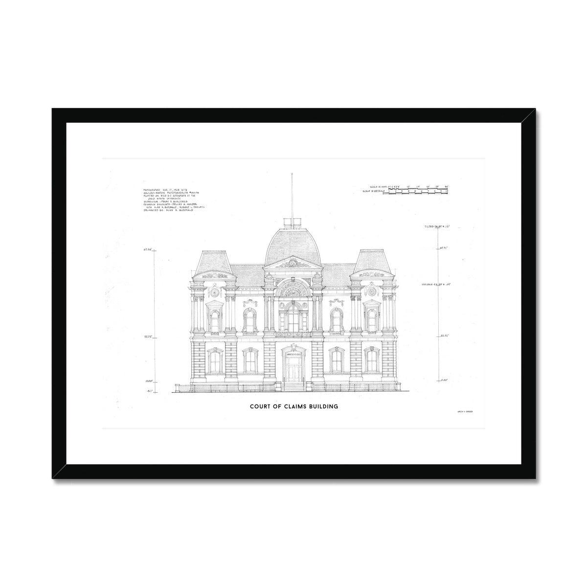 Washington D.C. Court of Claims Building - White -  Framed & Mounted Print
