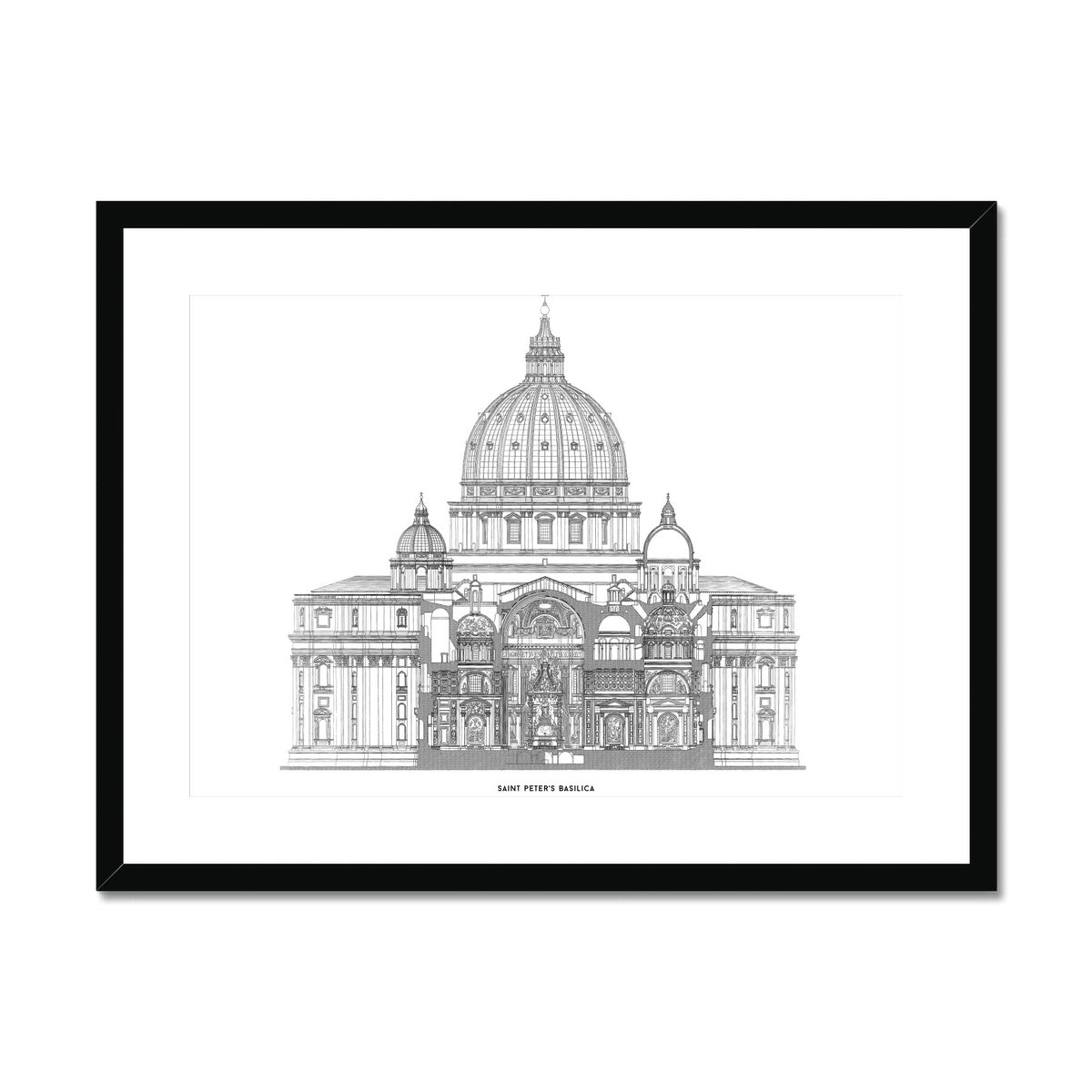 Saint Peter's Basilica - Primary Elevation Cross Section - White -  Framed & Mounted Print