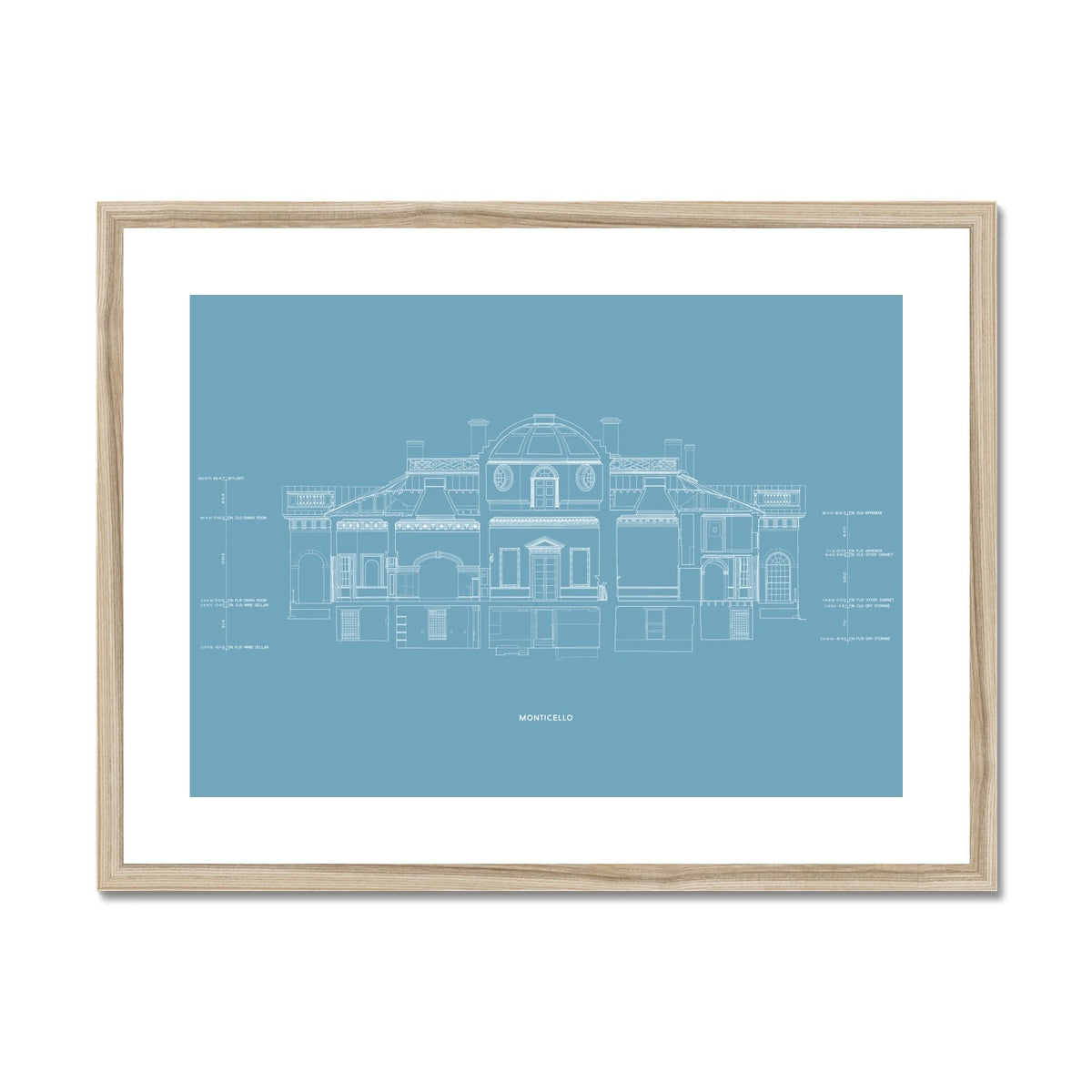 Monticello - West Elevation Cross Section - Blue -  Framed & Mounted Print