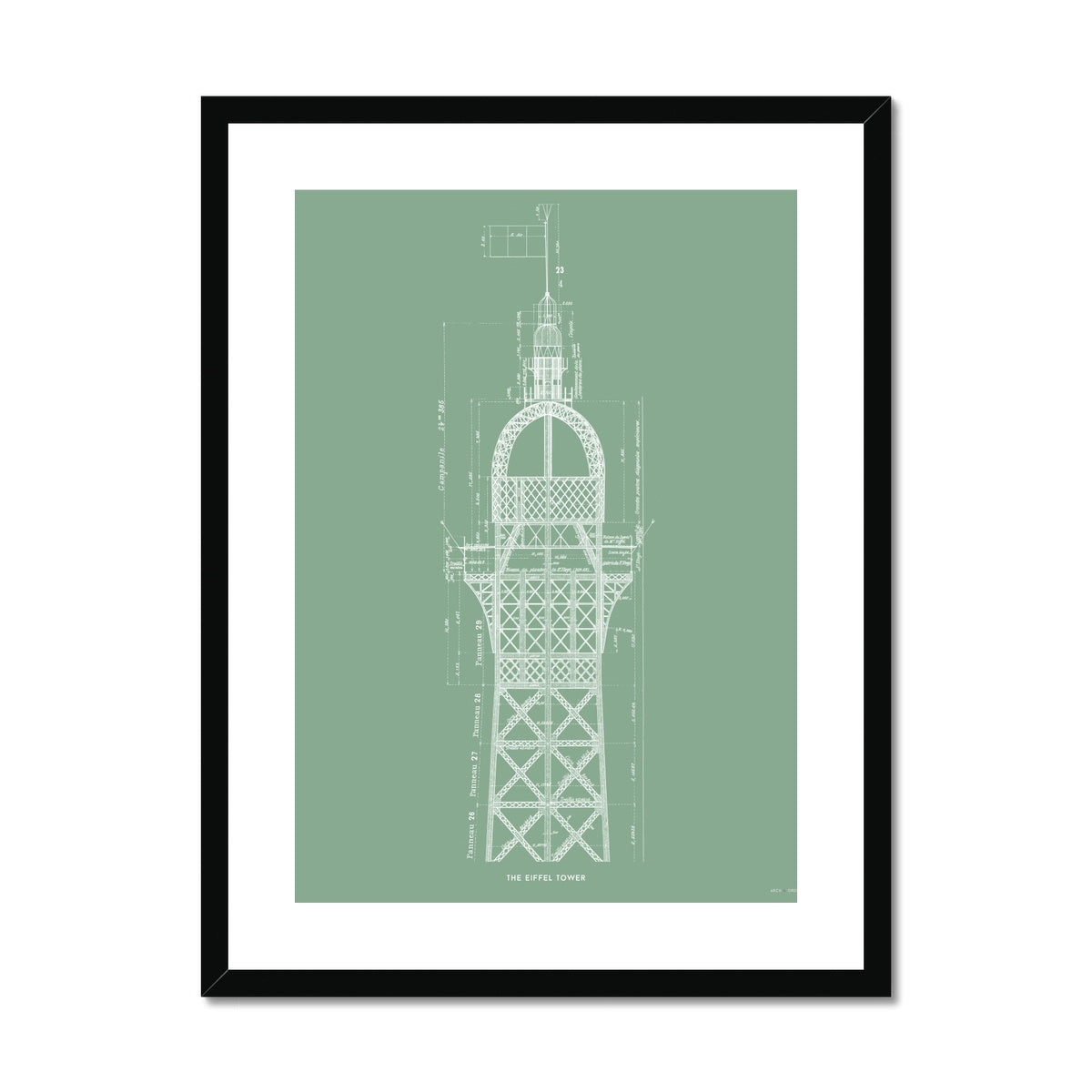 The Eiffel Tower - Top Cross Section - Green -  Framed & Mounted Print