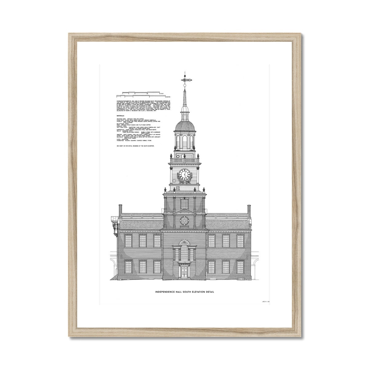 Independence Hall - South Elevation Detail - White -  Framed & Mounted Print