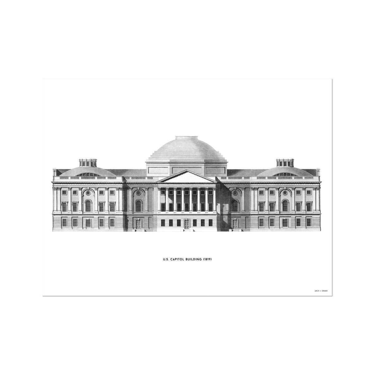 The U.S. Capitol Building - 1823 Elevation - White -  Etching Paper Print