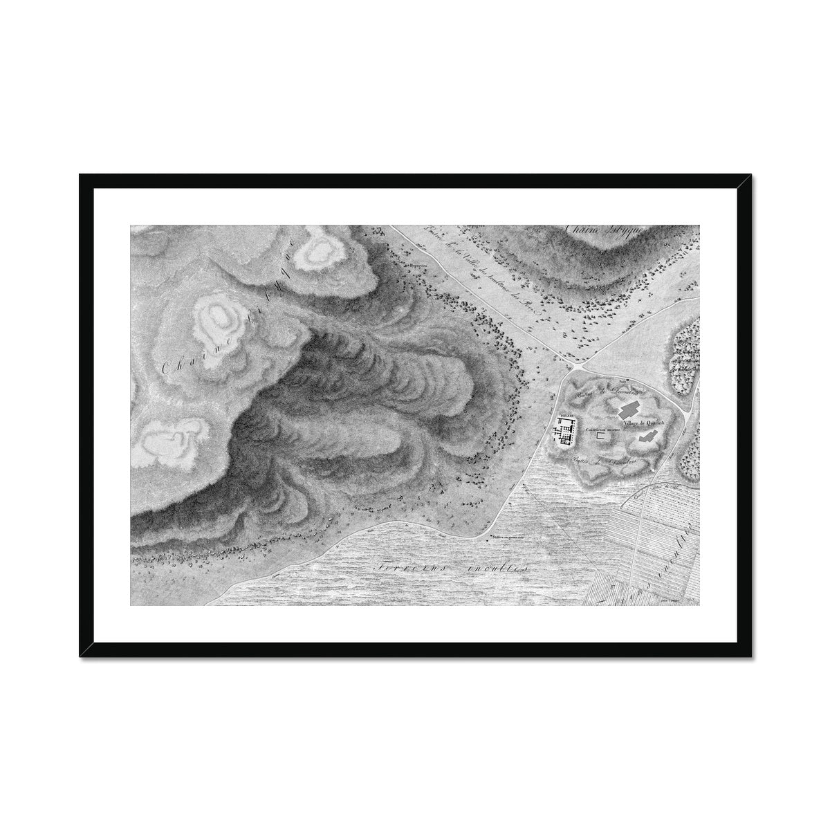 Topographic Map of the Ruins - Qournah - Thebes Egypt -  Framed & Mounted Print