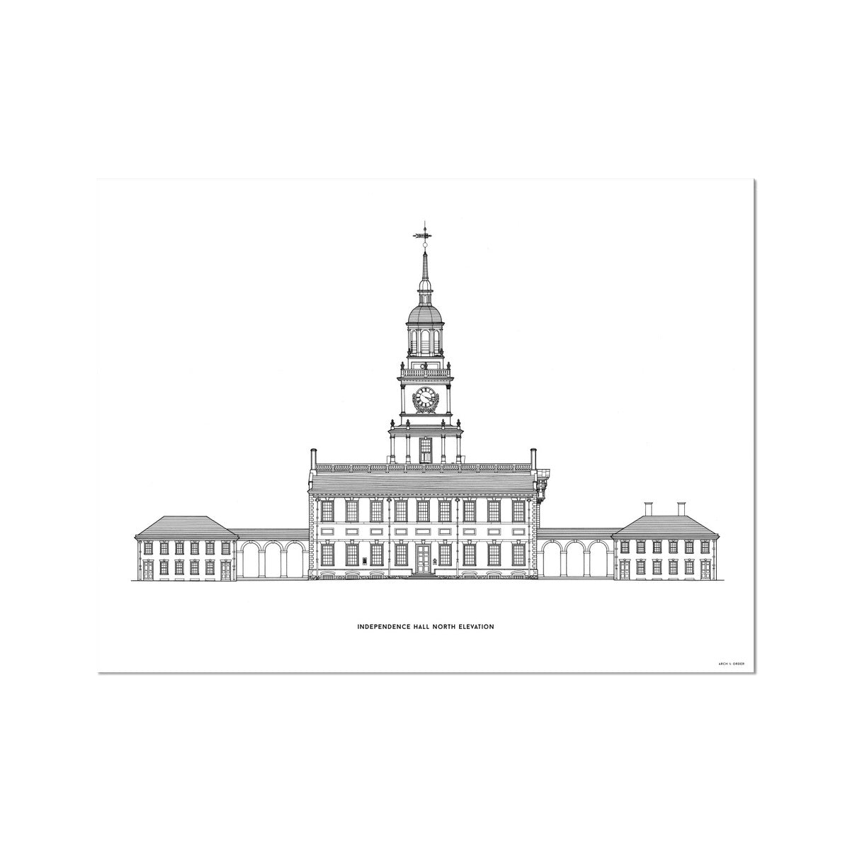 Independence Hall - North Elevation - White -  Etching Paper Print