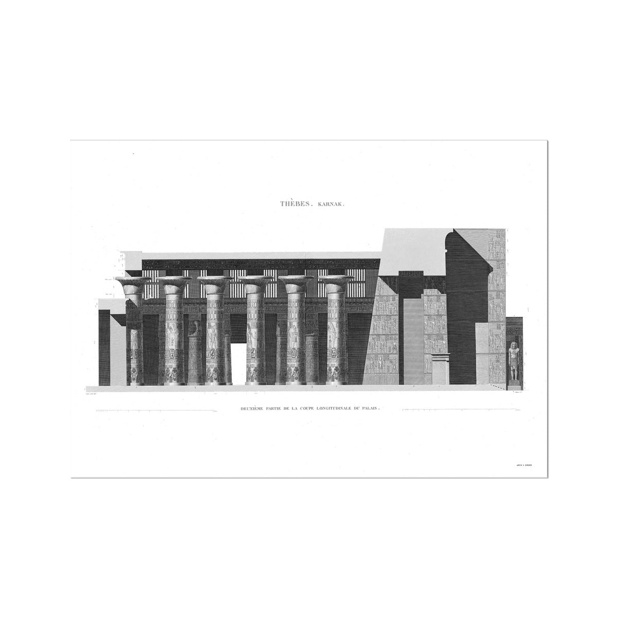 Section of the Palace 3 - Karnak - Thebes Egypt -  Etching Paper Print